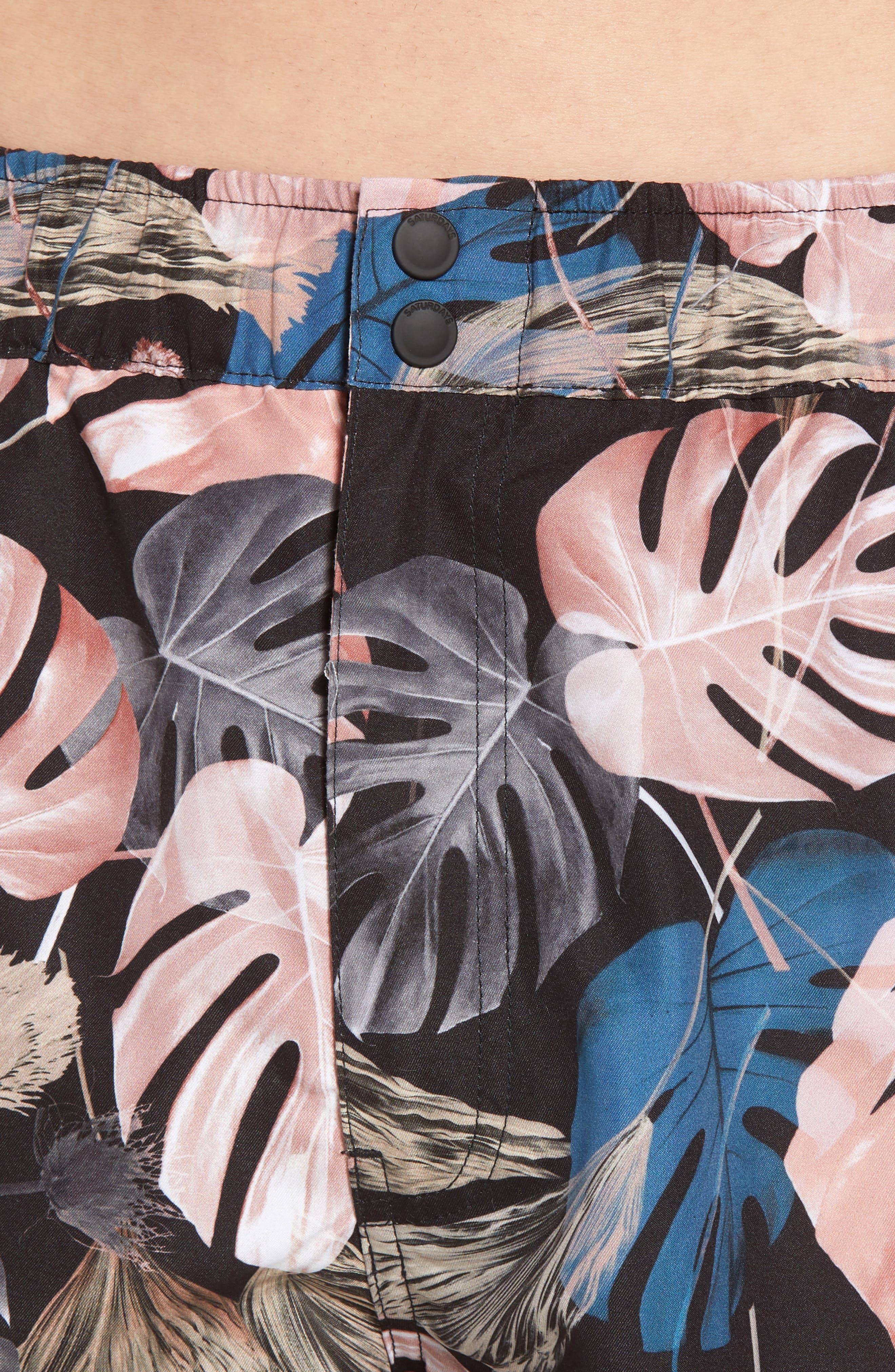 Trent Monstera Swim Shorts,                             Alternate thumbnail 4, color,                             Monstera Print