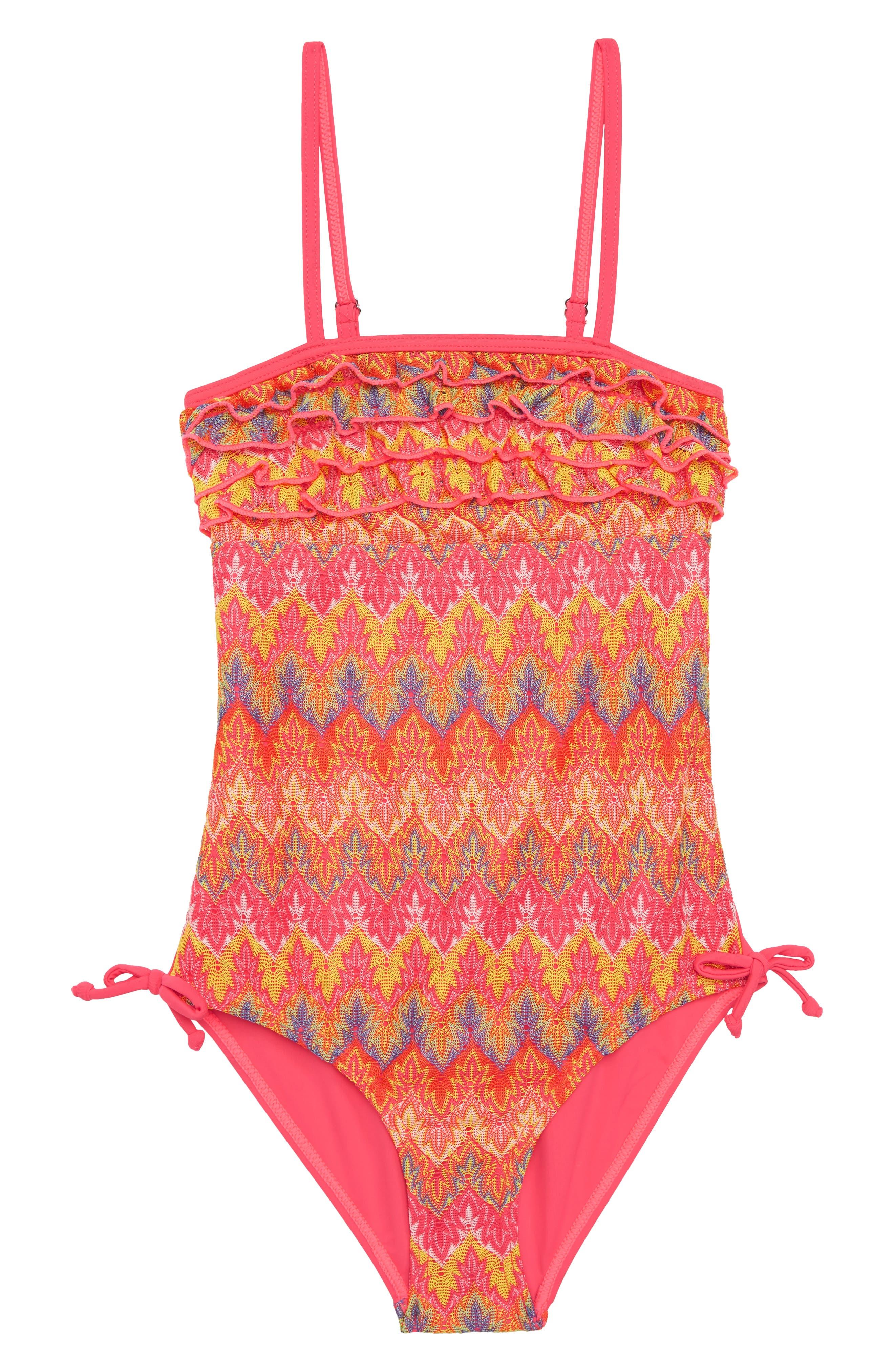 Vigoss Flame Stitch Ruffle One-Piece Swimsuit (Big Girls)