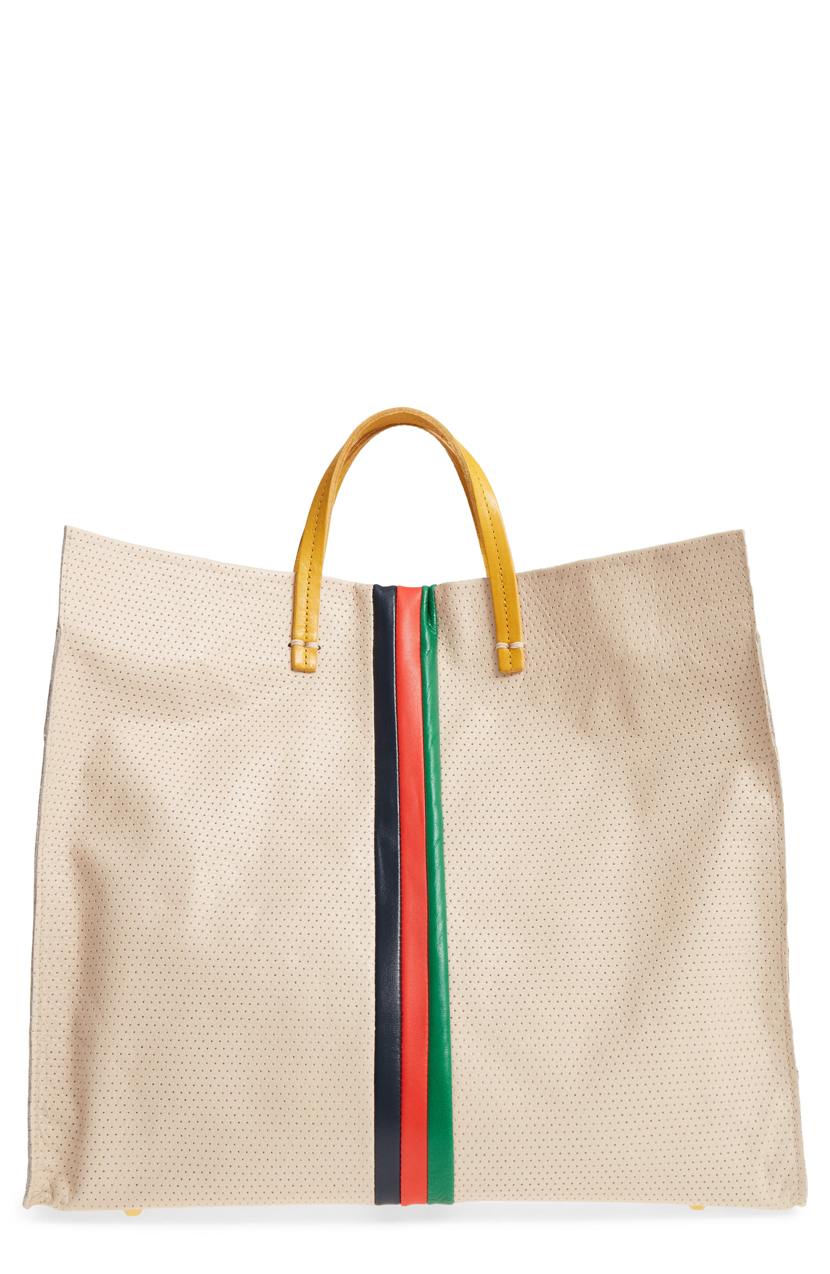 Clare V. Simple Stripe Perforated Leather Tote