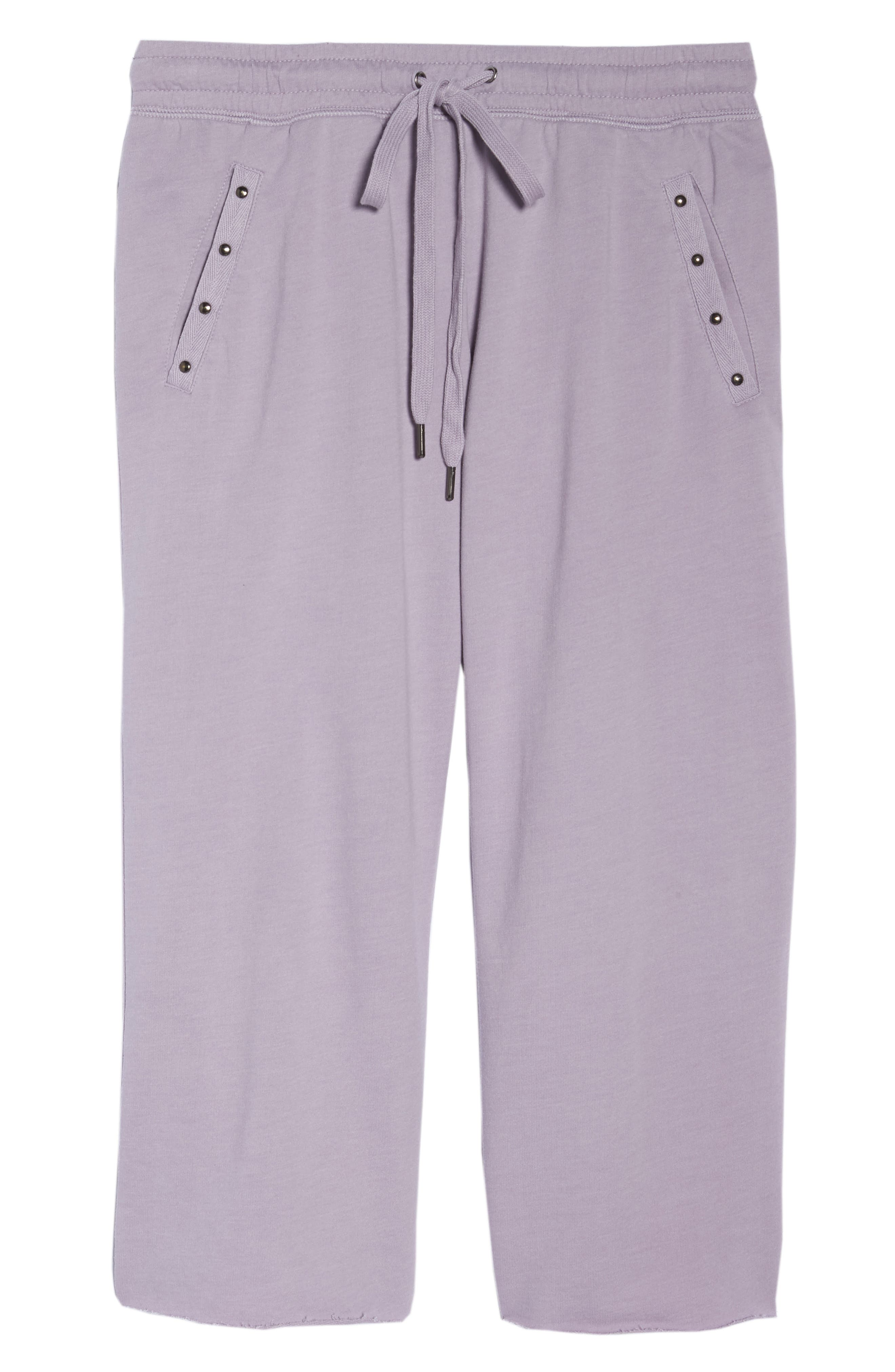 Studded Crop Pajama Pants,                             Alternate thumbnail 7, color,                             Orchid