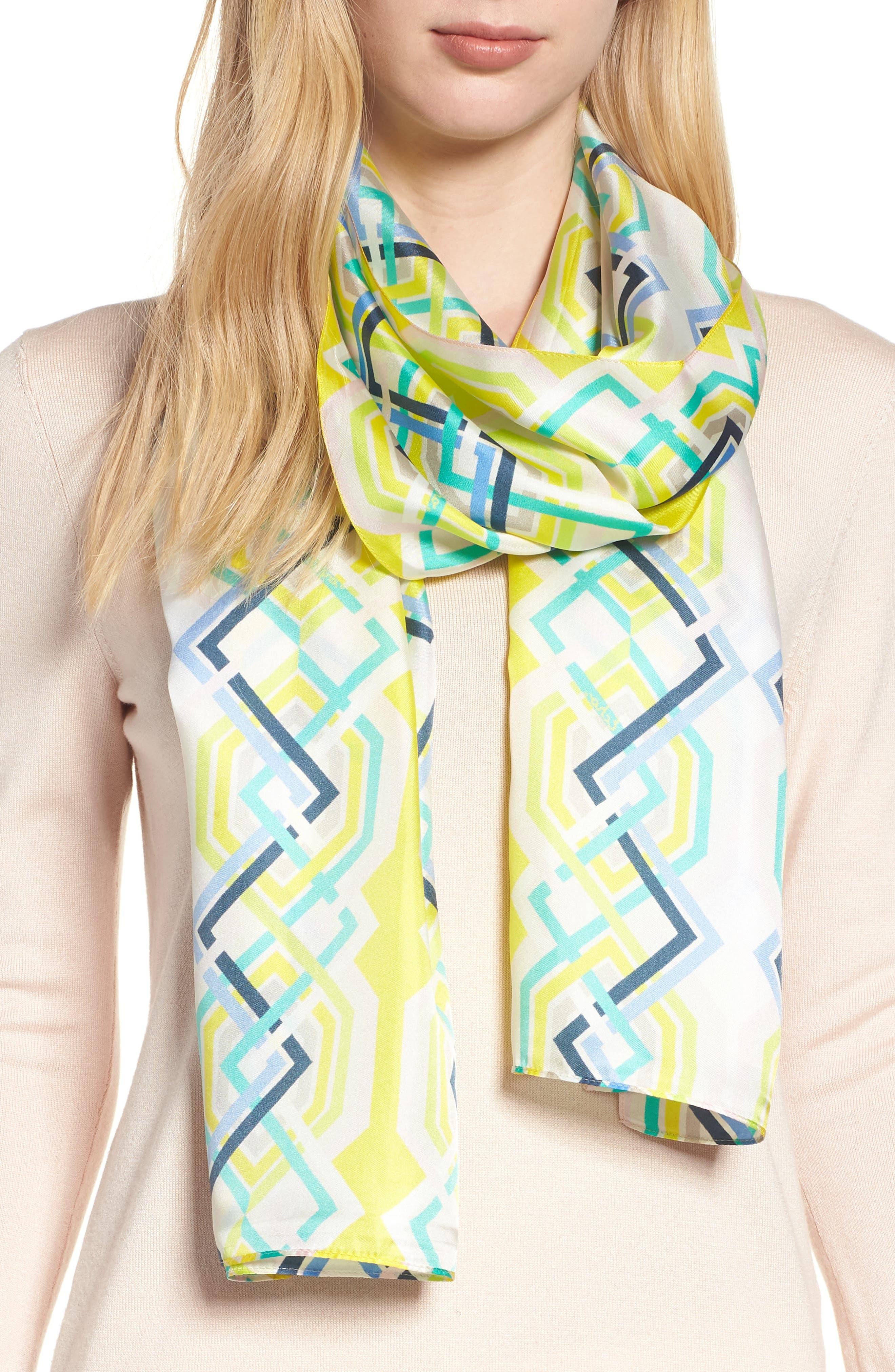 Geo Lattice Silk Scarf,                         Main,                         color, Sunburst