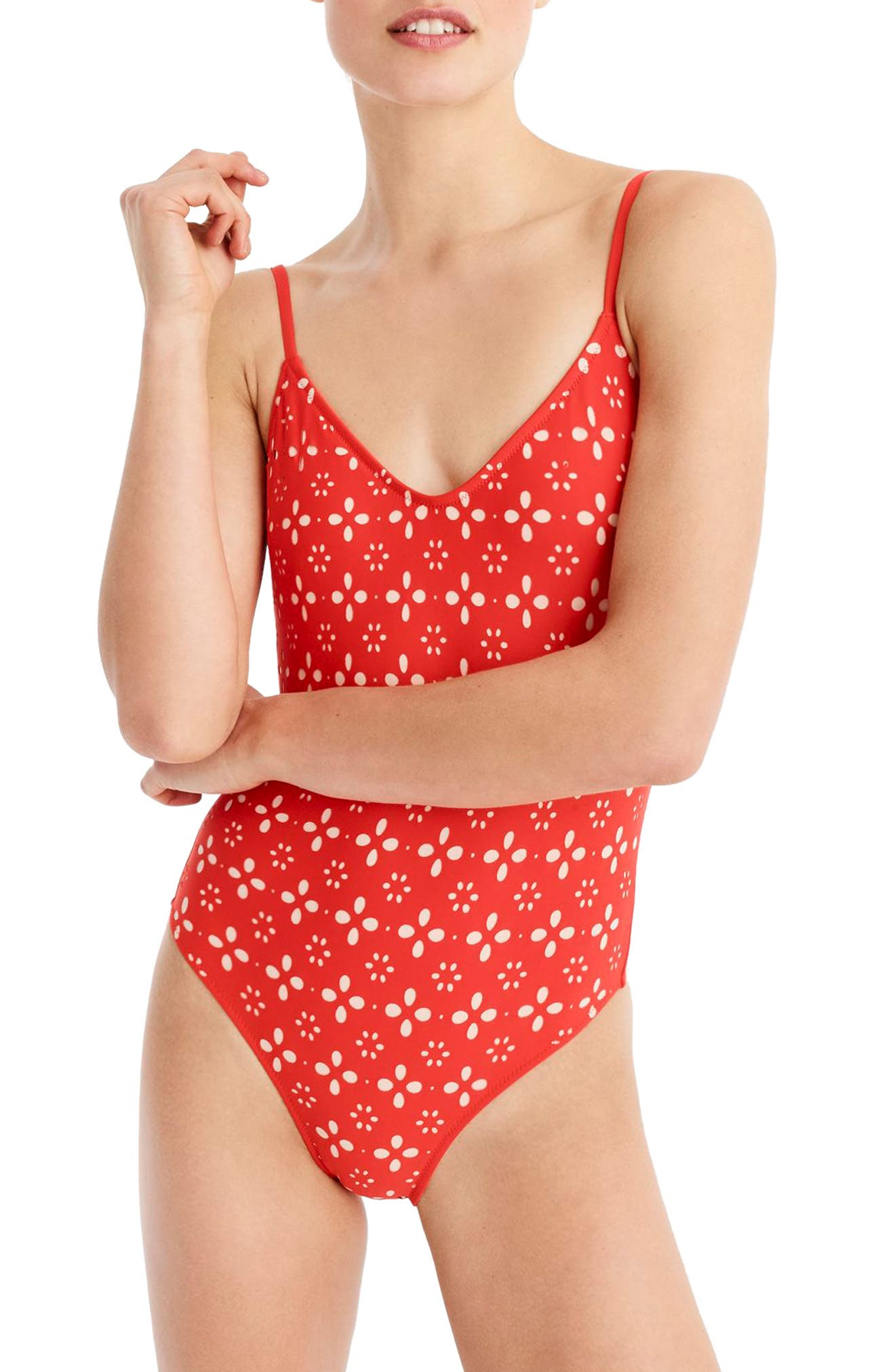 Strappy Laser Eyelet One-Piece Swimsuit,                             Main thumbnail 1, color,                             Fiery Sunset Blush