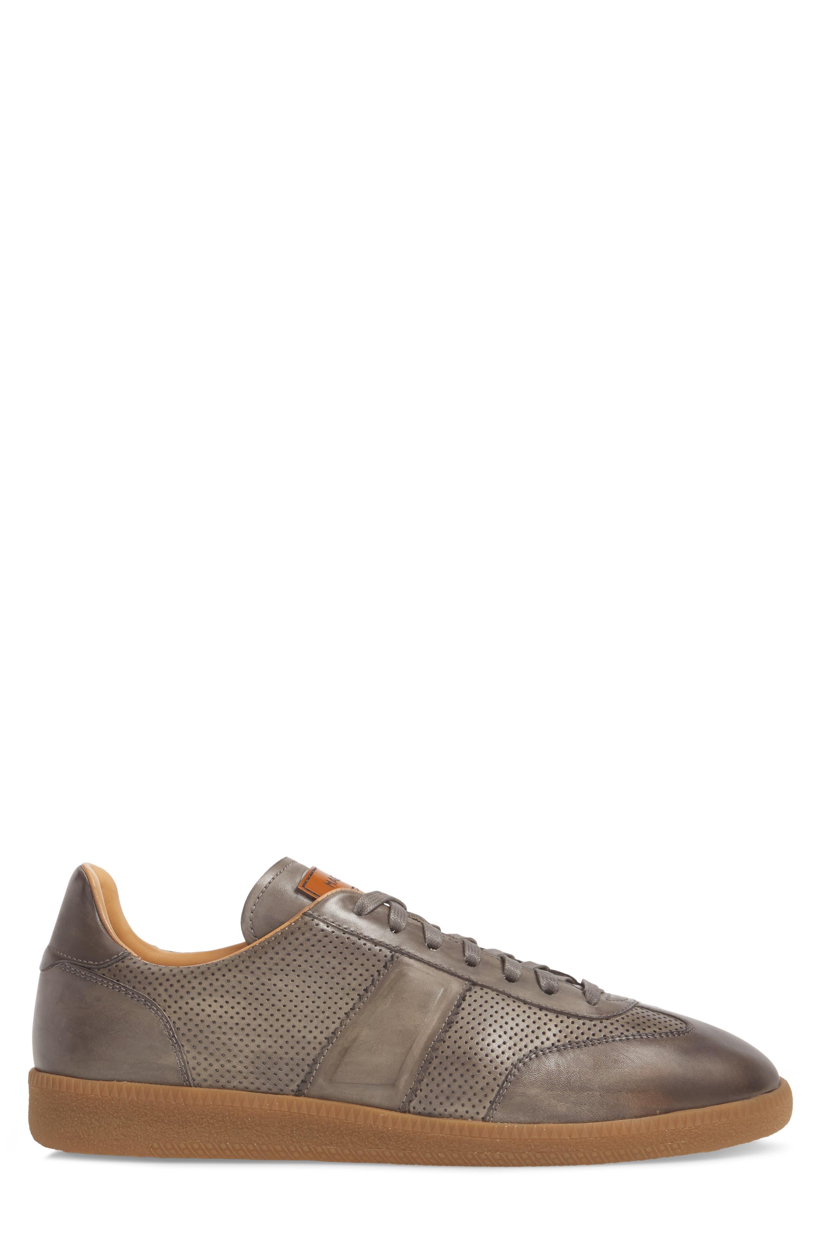 Xavi Embossed Low Top Sneaker,                             Alternate thumbnail 3, color,                             Grey/ Grey Leather
