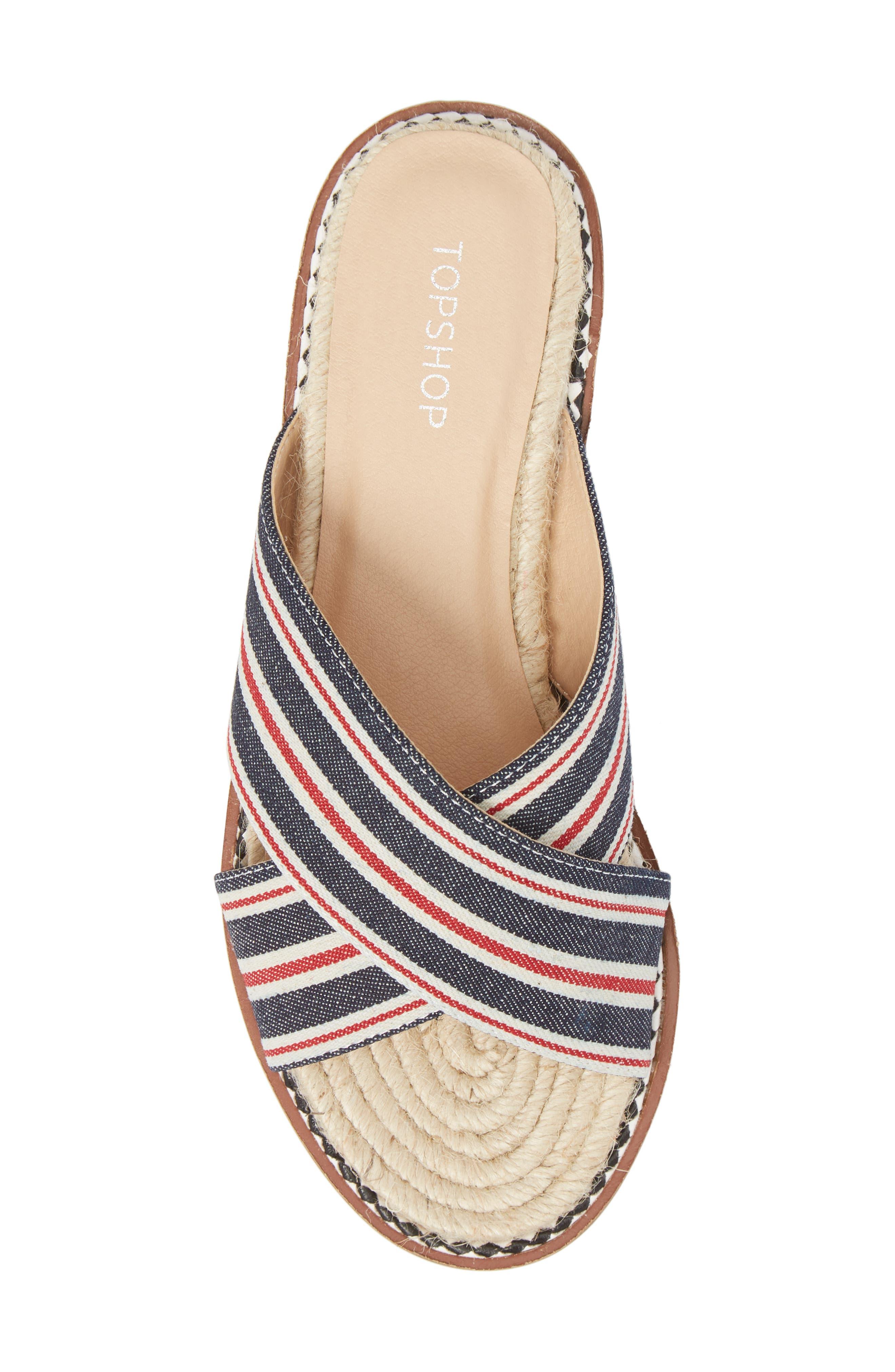 Hibiscus Slide Sandal,                             Alternate thumbnail 5, color,                             Navy Blue Multi