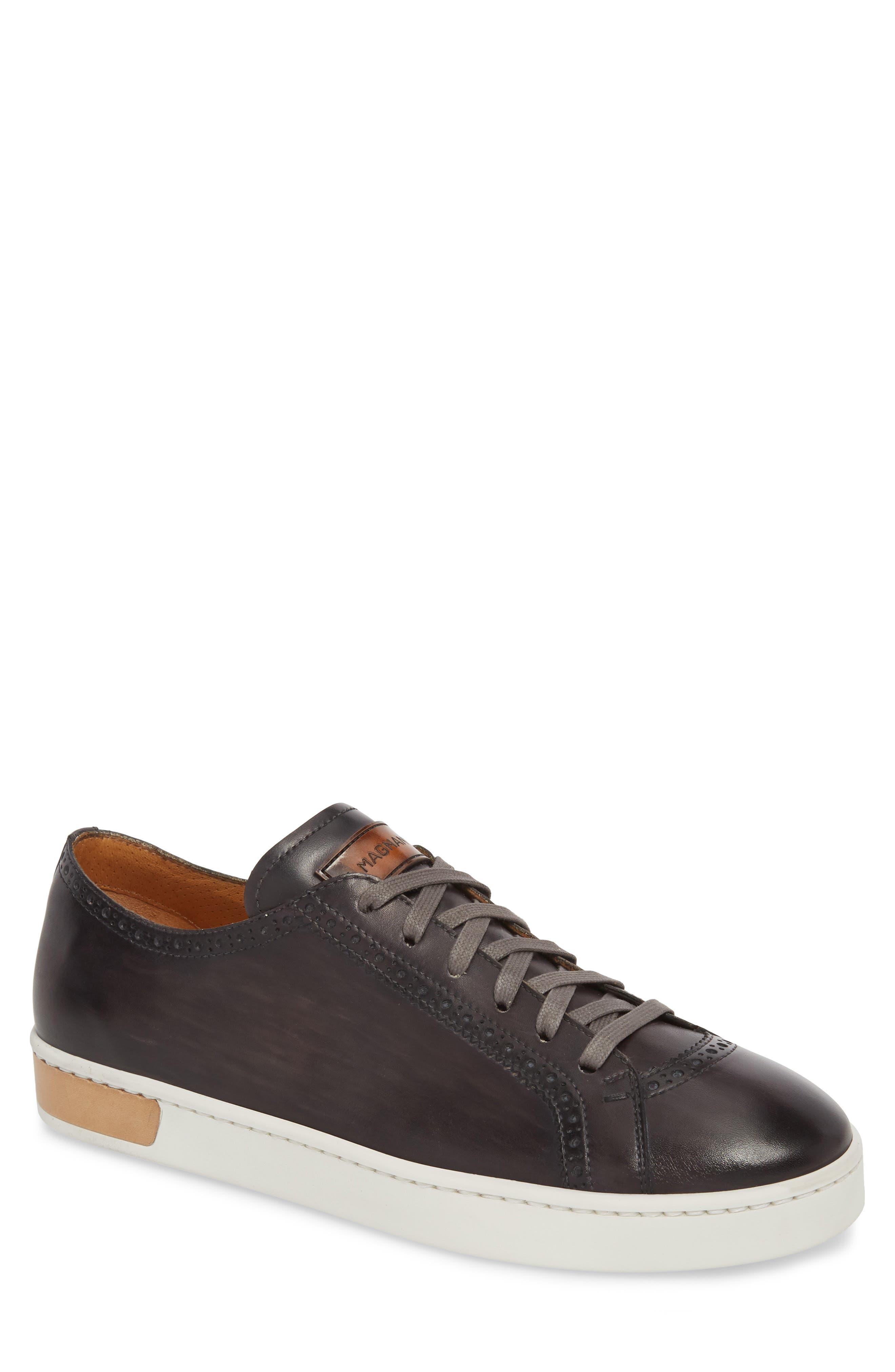 Juniper Brogued Low Top Sneaker,                             Main thumbnail 1, color,                             Grey Leather
