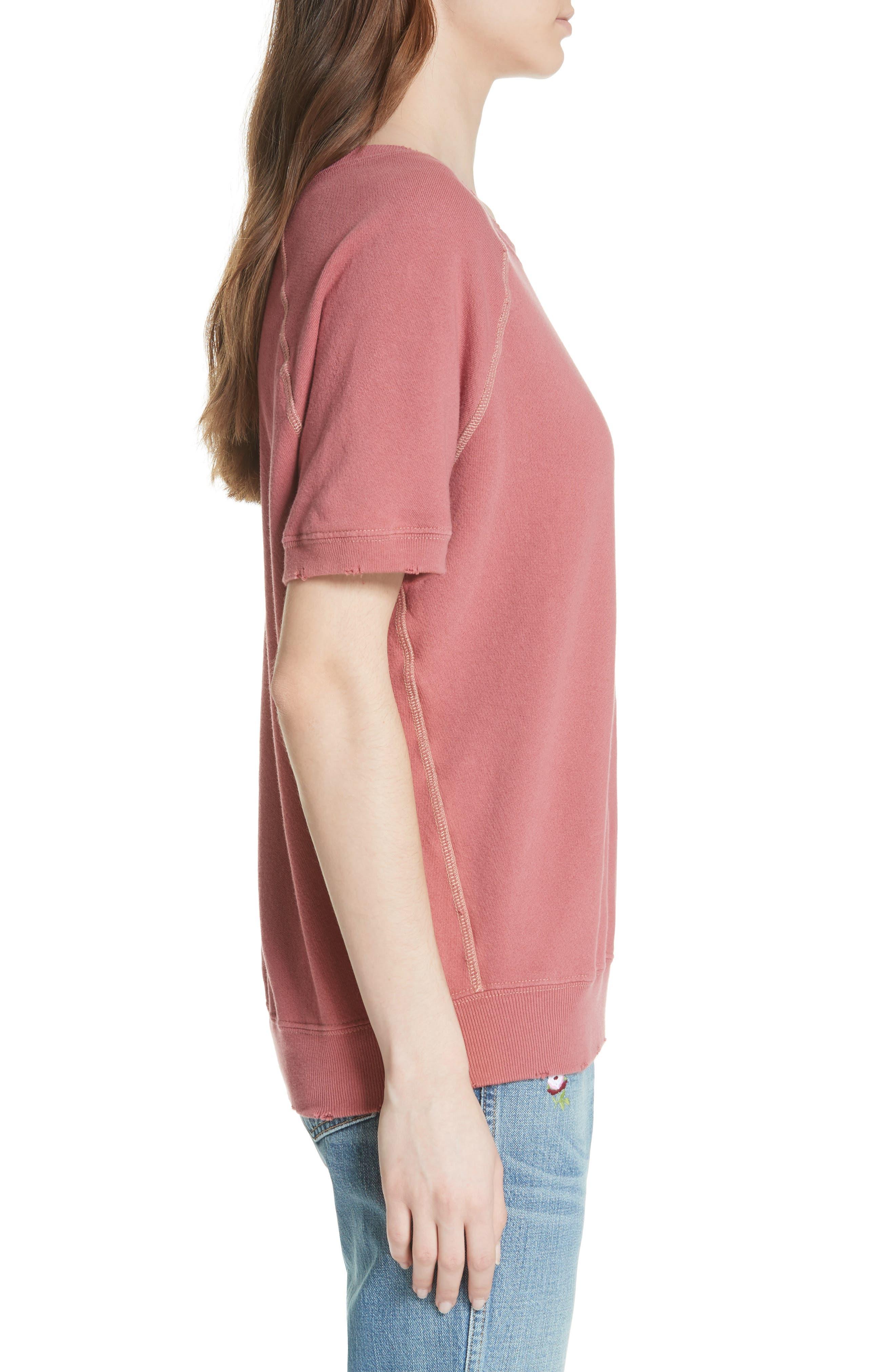 Short Sleeve Sweatshirt,                             Alternate thumbnail 3, color,                             Antique Red