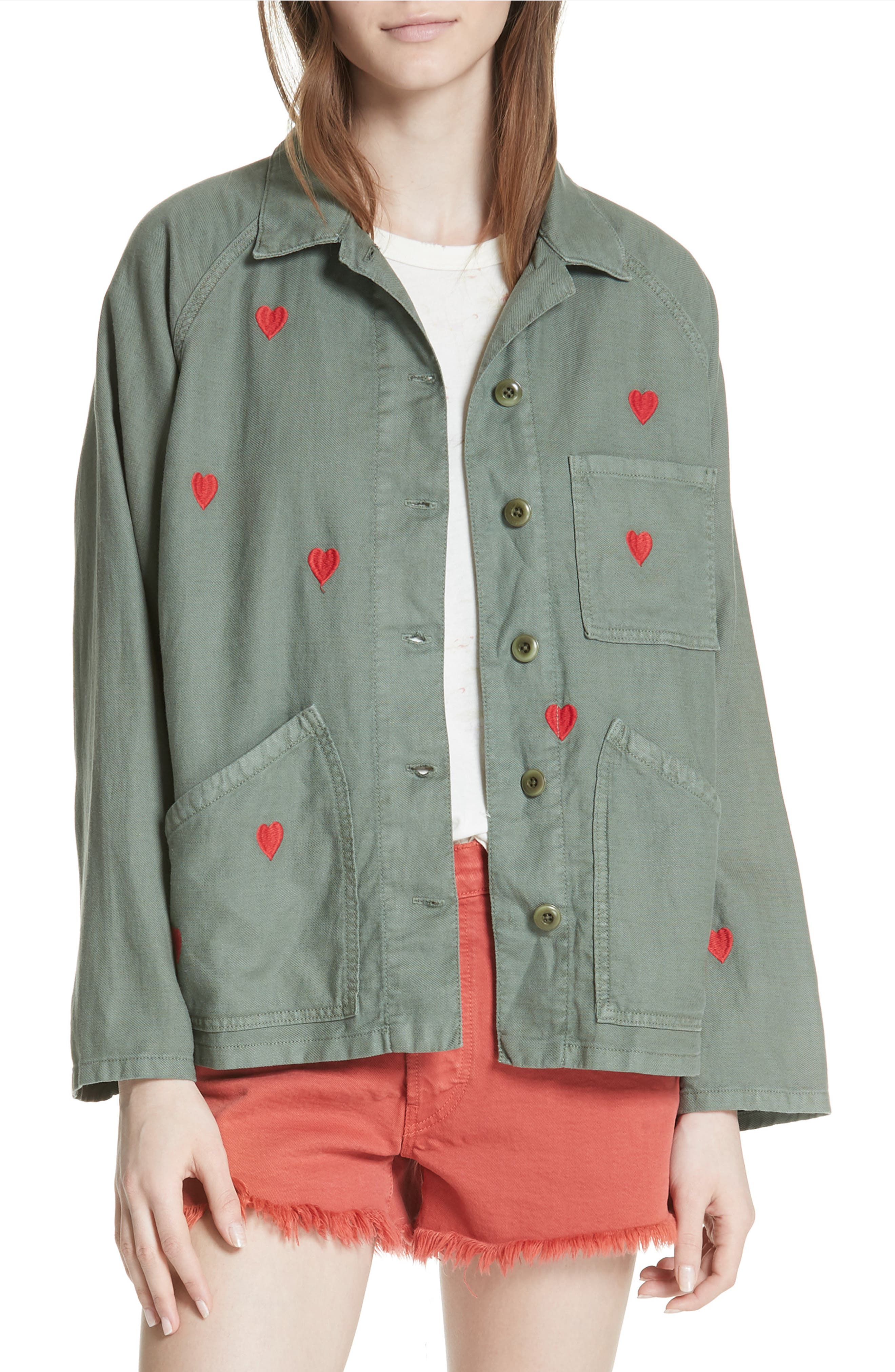 The Field Jacket,                             Main thumbnail 1, color,                             Moss Army/ Red Hearts