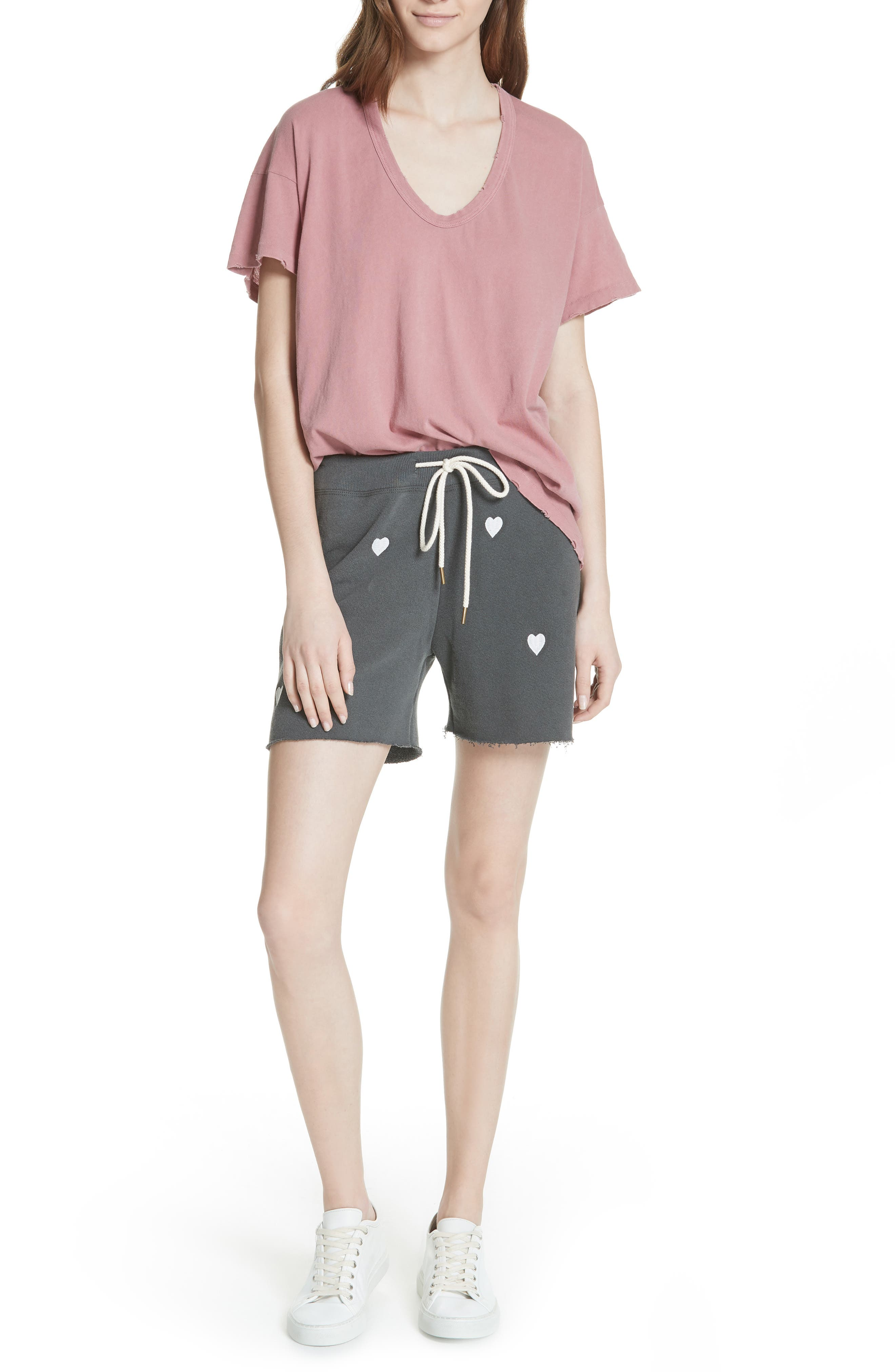 The Sweat Shorts,                             Alternate thumbnail 7, color,                             Washed Black/ White Hearts