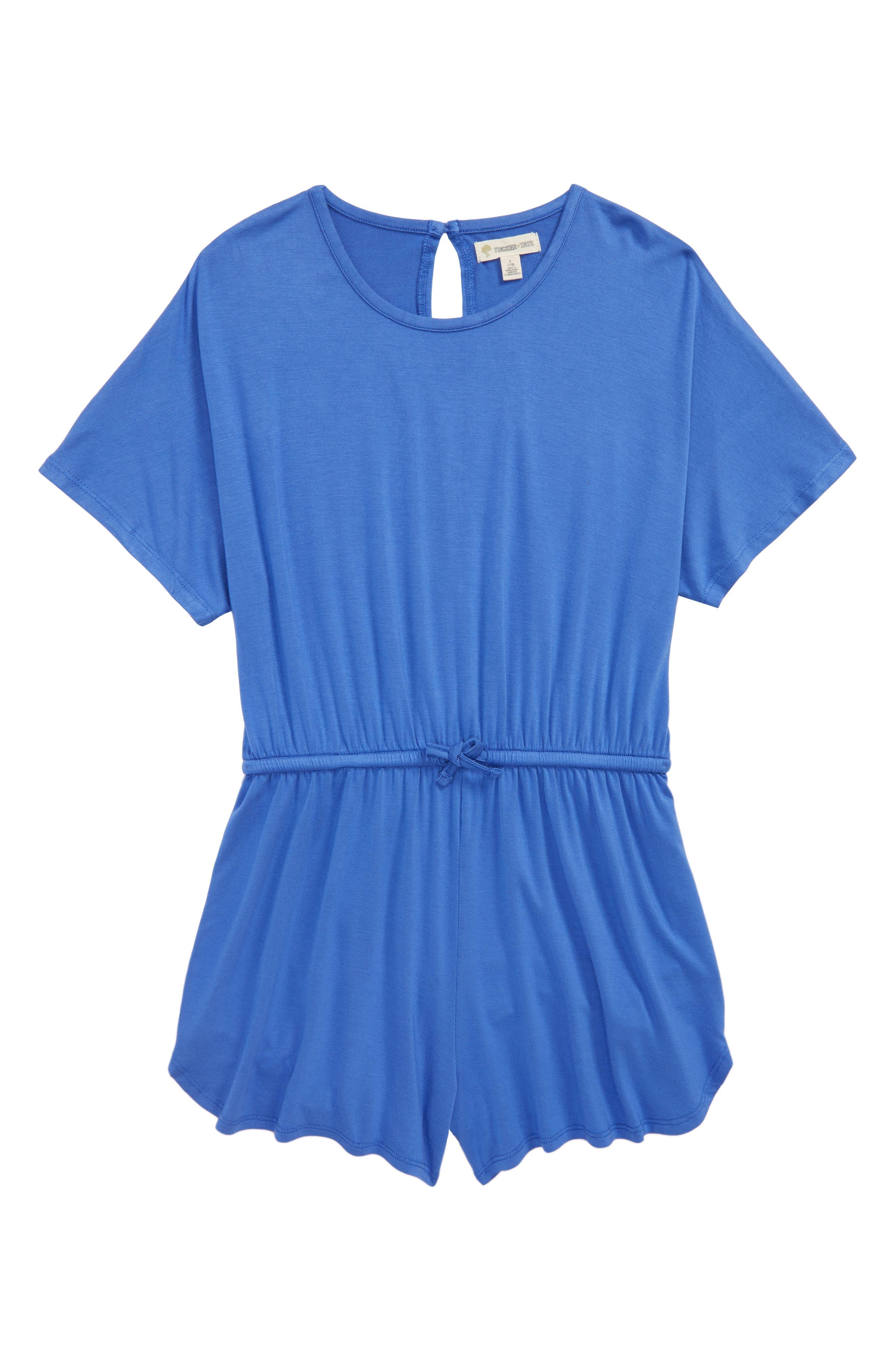 Knit Romper,                         Main,                         color, Blue Amparo