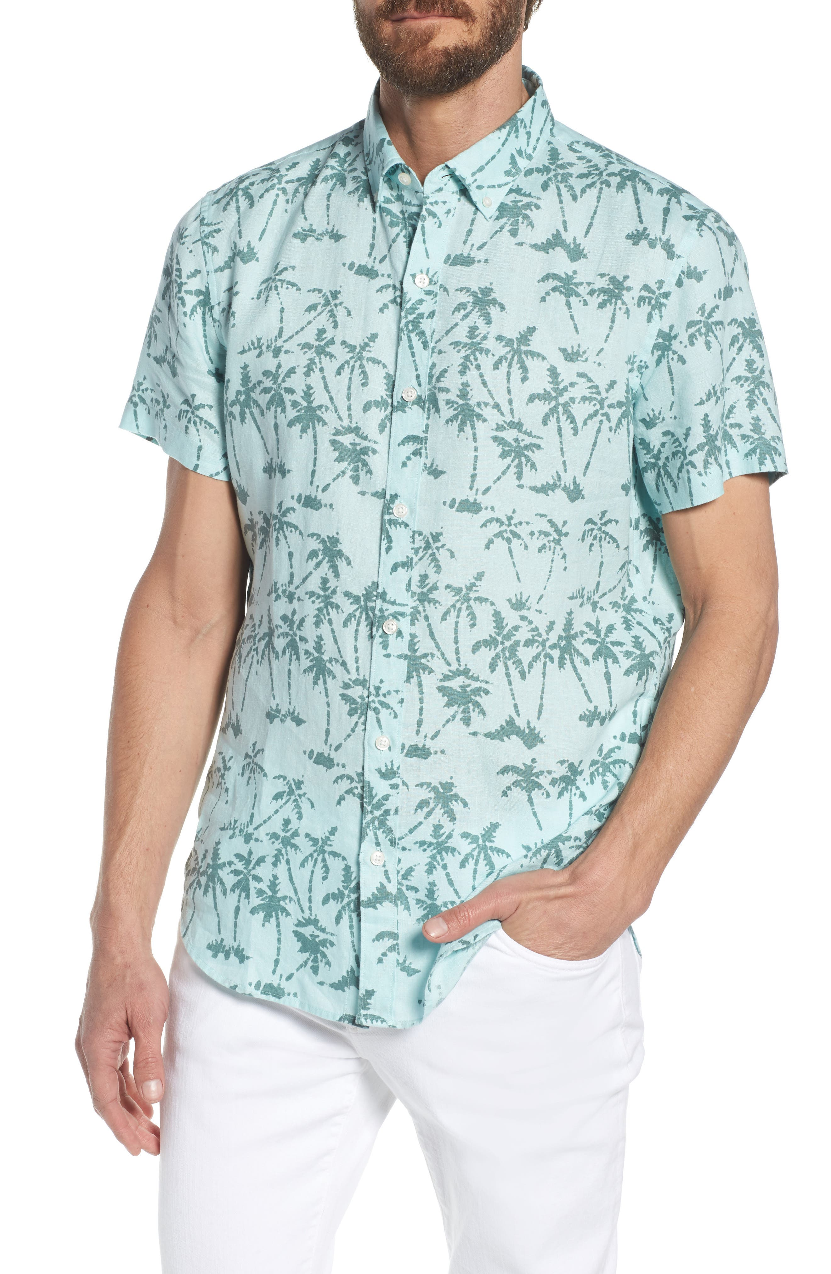 Riviera Slim Fit Palm Print Linen Sport Shirt,                         Main,                         color, Batik Palms - Hockney Pool