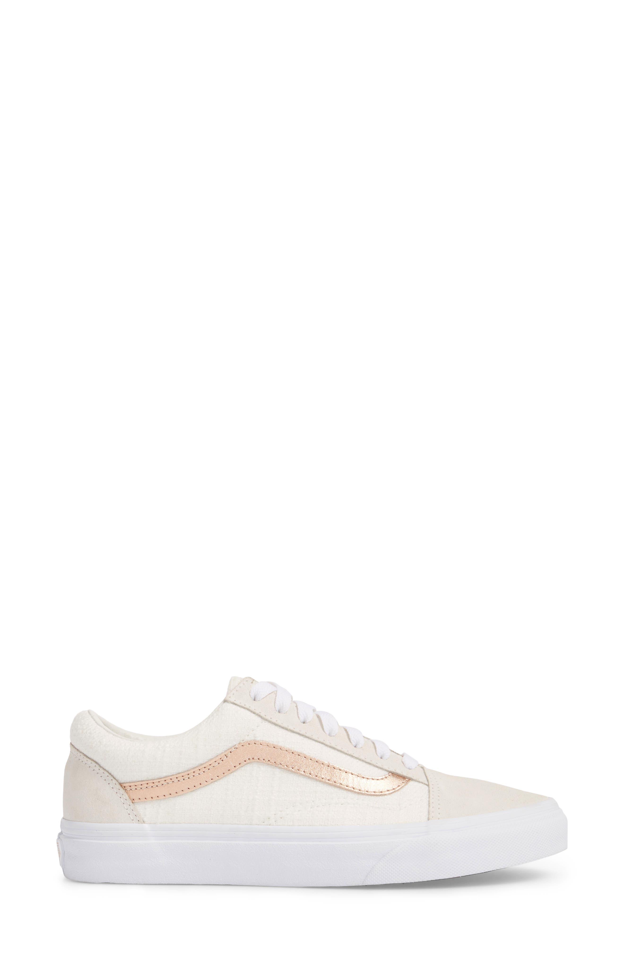 Old Skool Sneaker,                             Alternate thumbnail 4, color,                             Blanc De Blanc/ Rose Gold