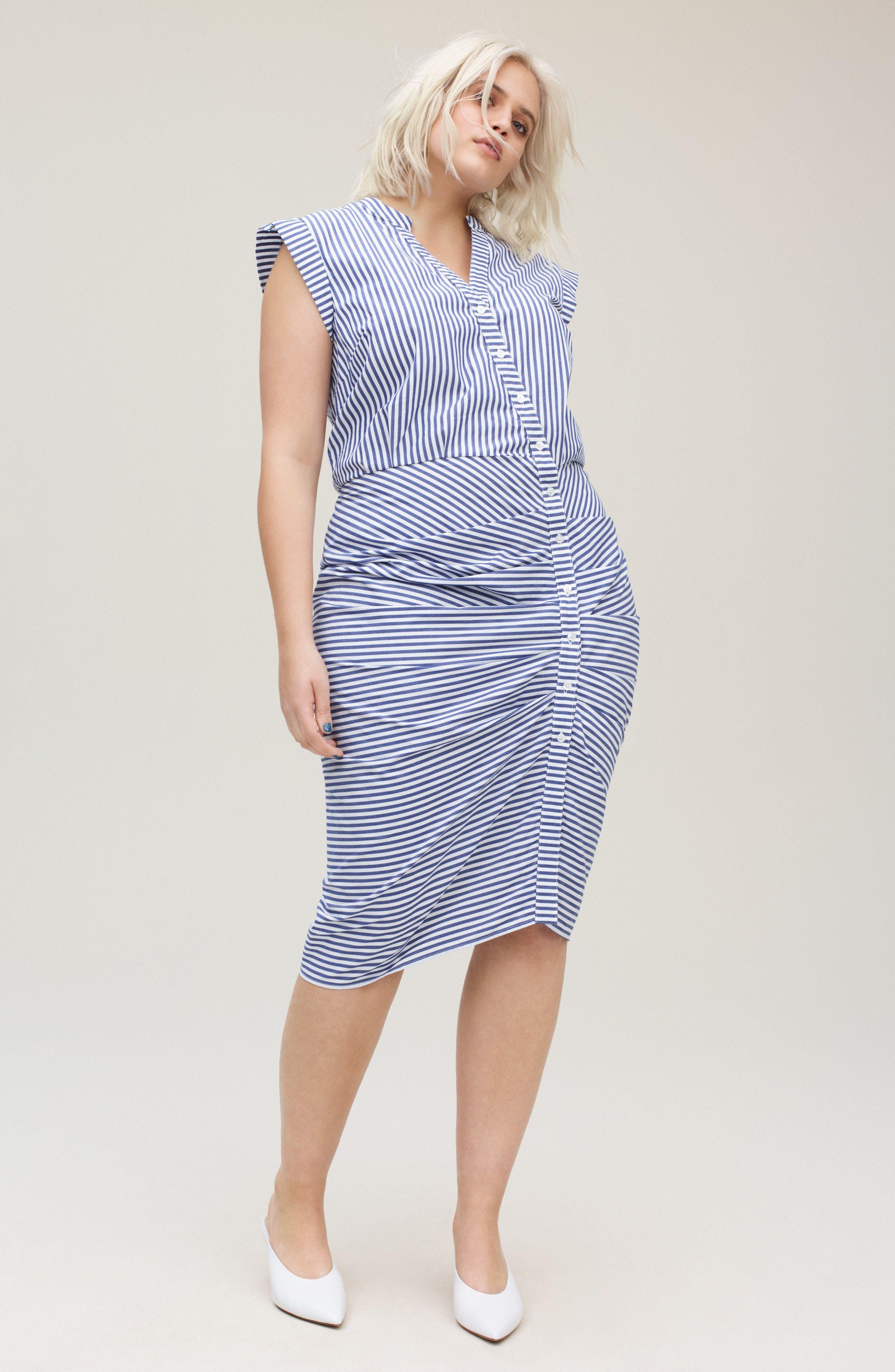 Stripe Ruched Cotton Shirtdress,                             Alternate thumbnail 2, color,                             Blue White Stripe