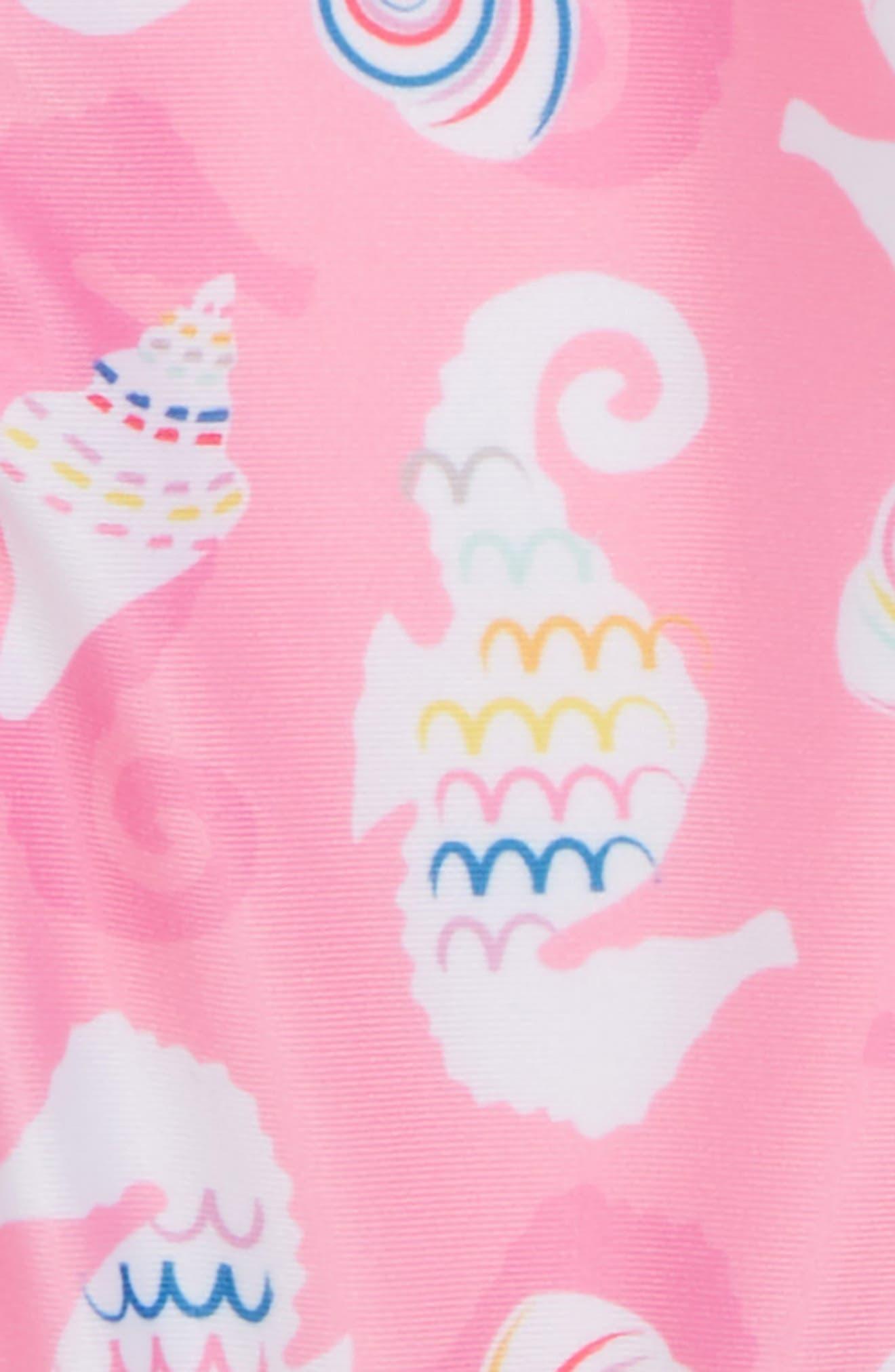 Seahorse/Shells One-Piece Short Sleeve Rashguard Swimsuit,                             Alternate thumbnail 2, color,                             Pink
