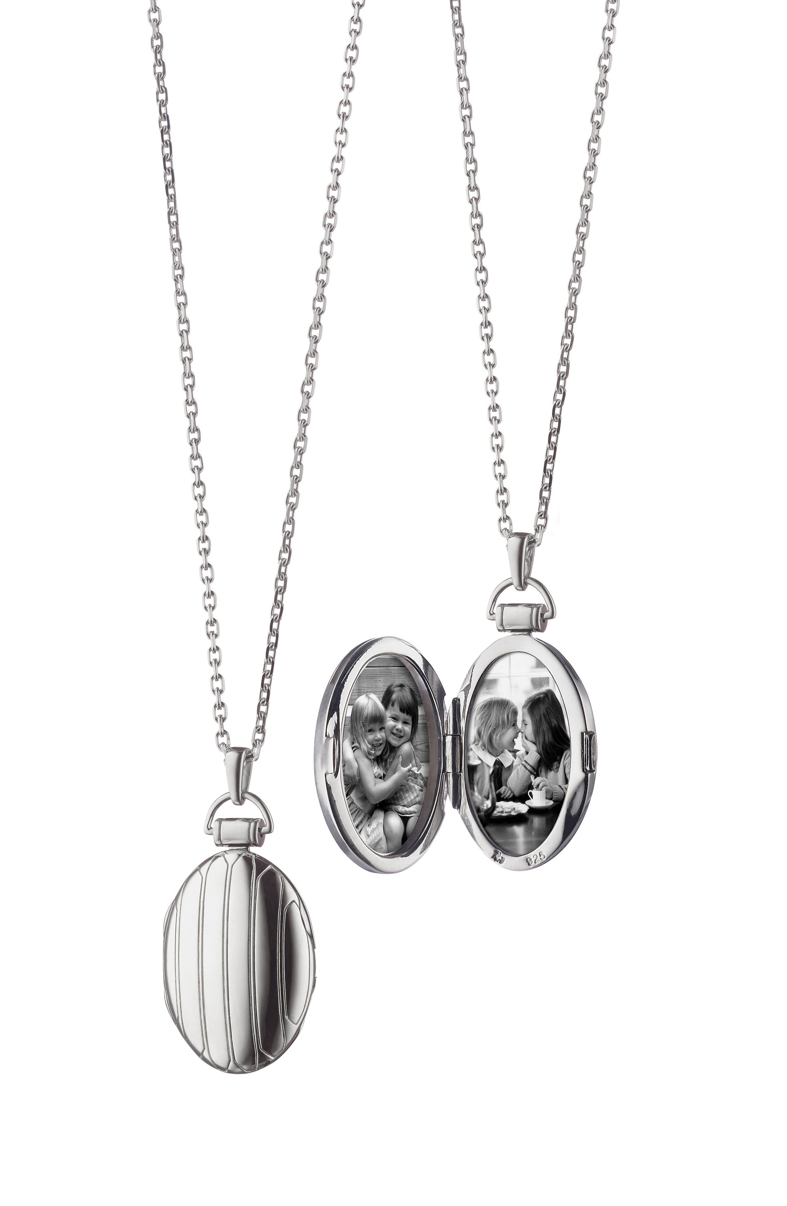Locket Necklace,                             Main thumbnail 1, color,                             Sterling Silver