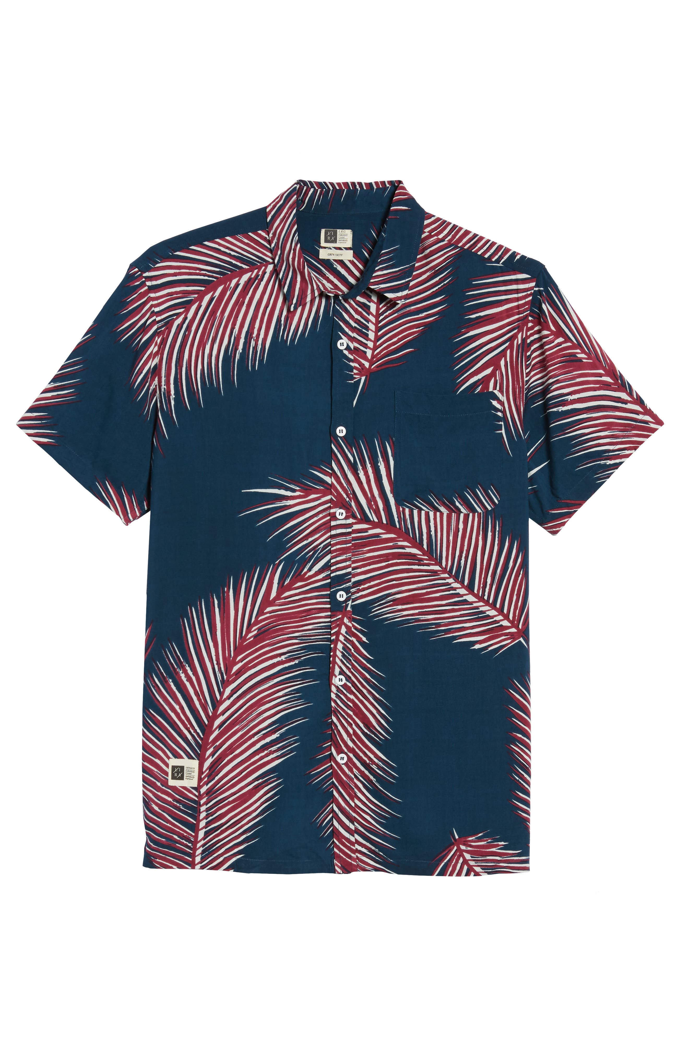 Giant Palms Woven Shirt,                             Alternate thumbnail 6, color,                             Navy