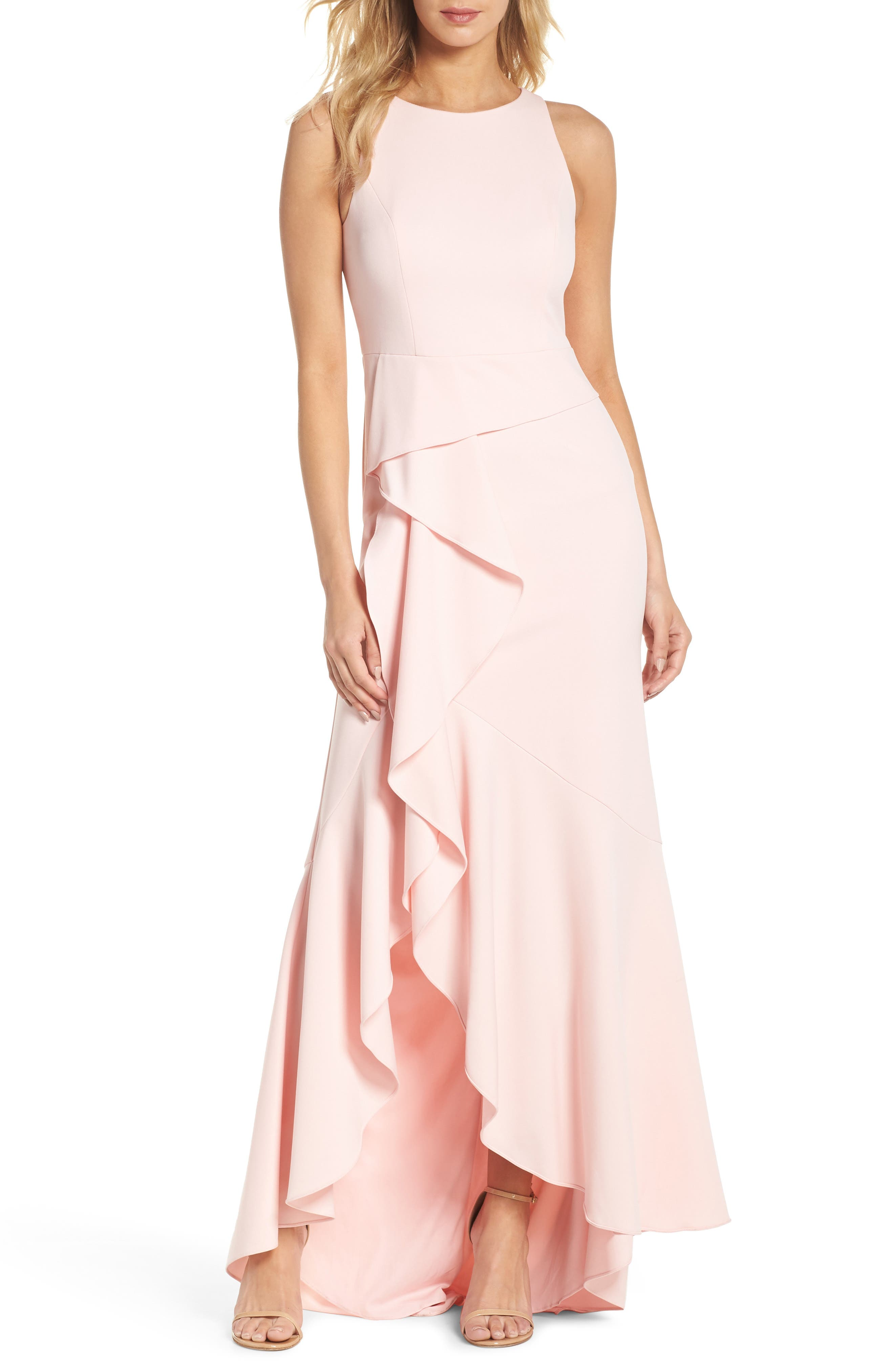 Adrianna Papell Cascade Crepe Gown (Regular & Petite)