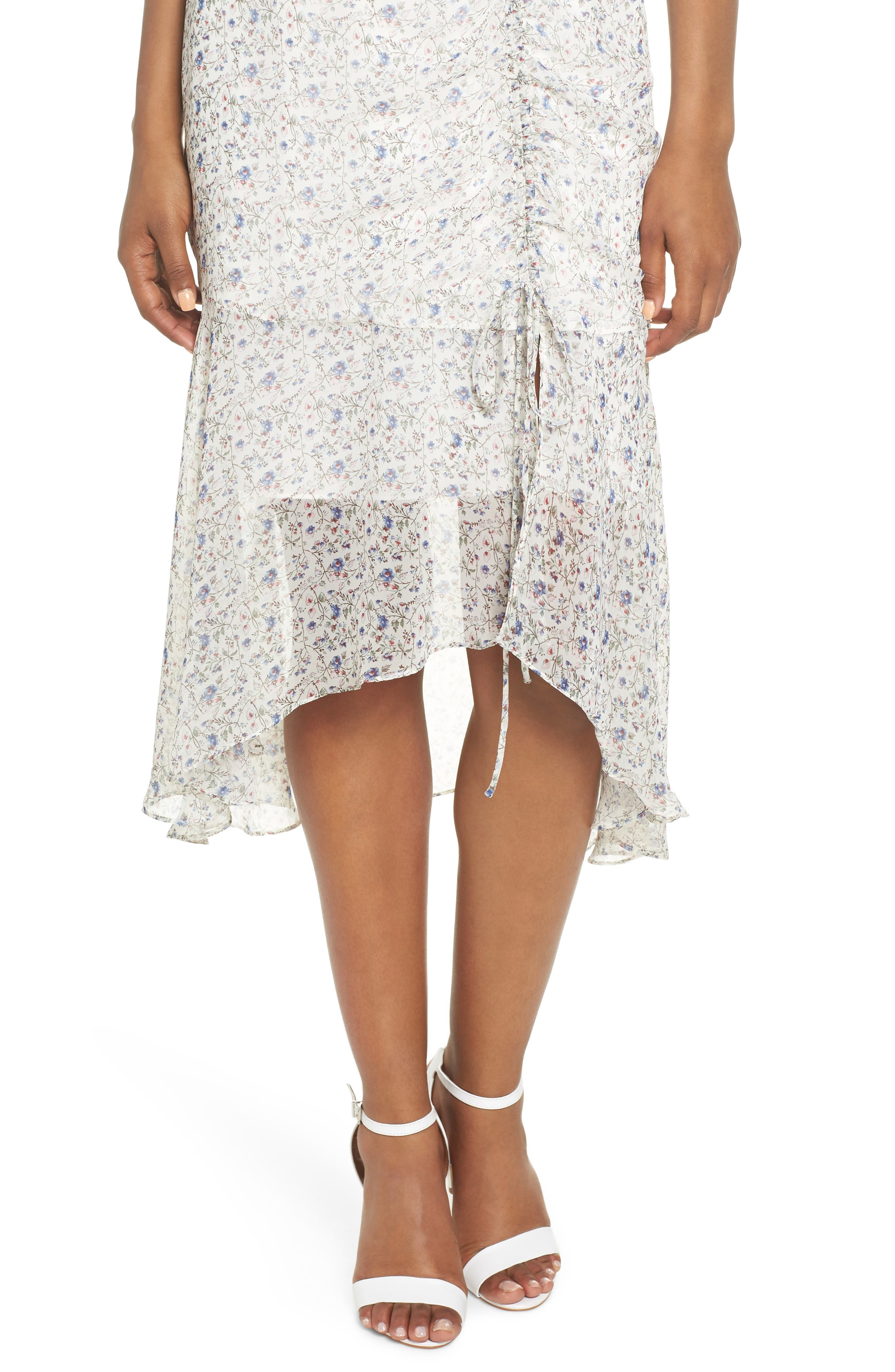Print Ruched Chiffon Midi Dress,                             Alternate thumbnail 4, color,                             Ivory