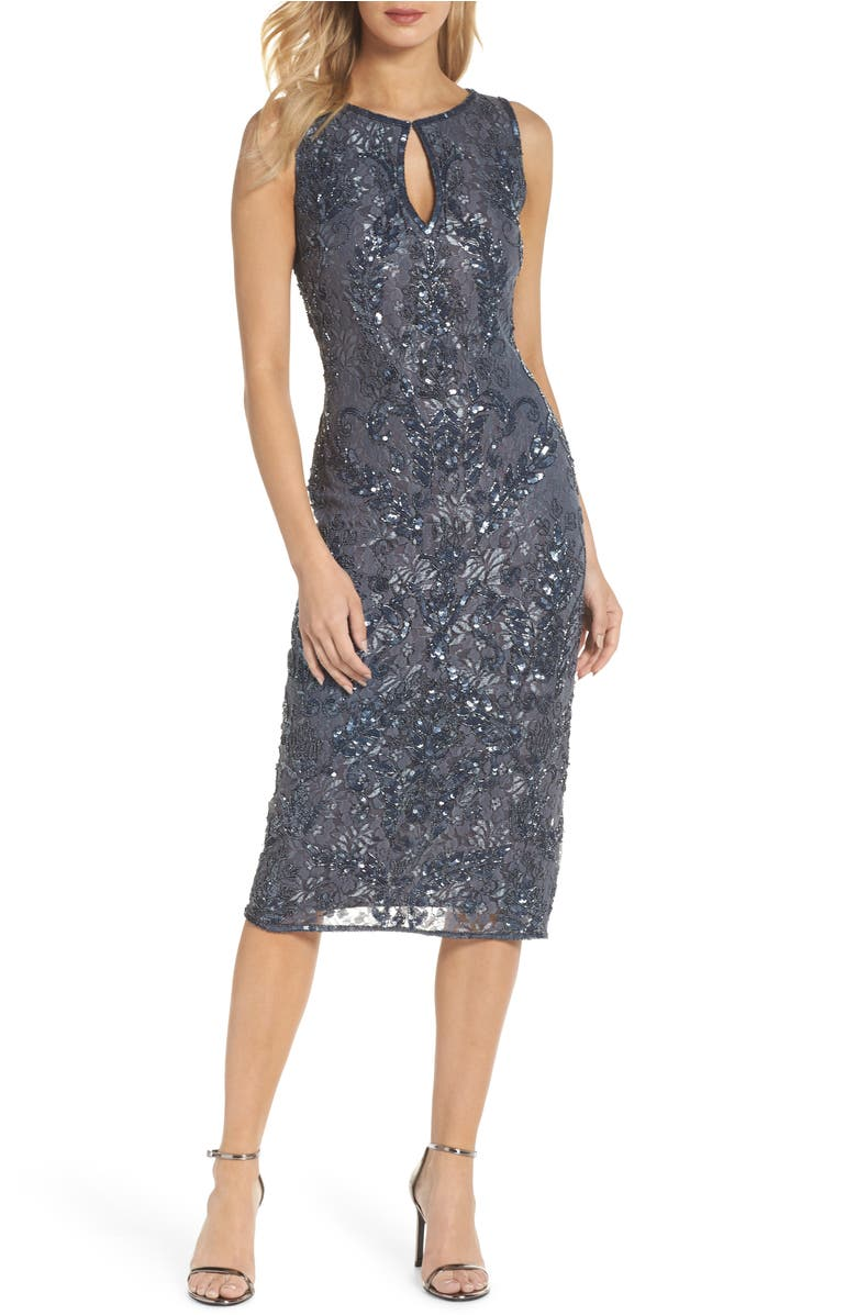 Sequin Lace Sheath Dress,                         Main,                         color, Slate