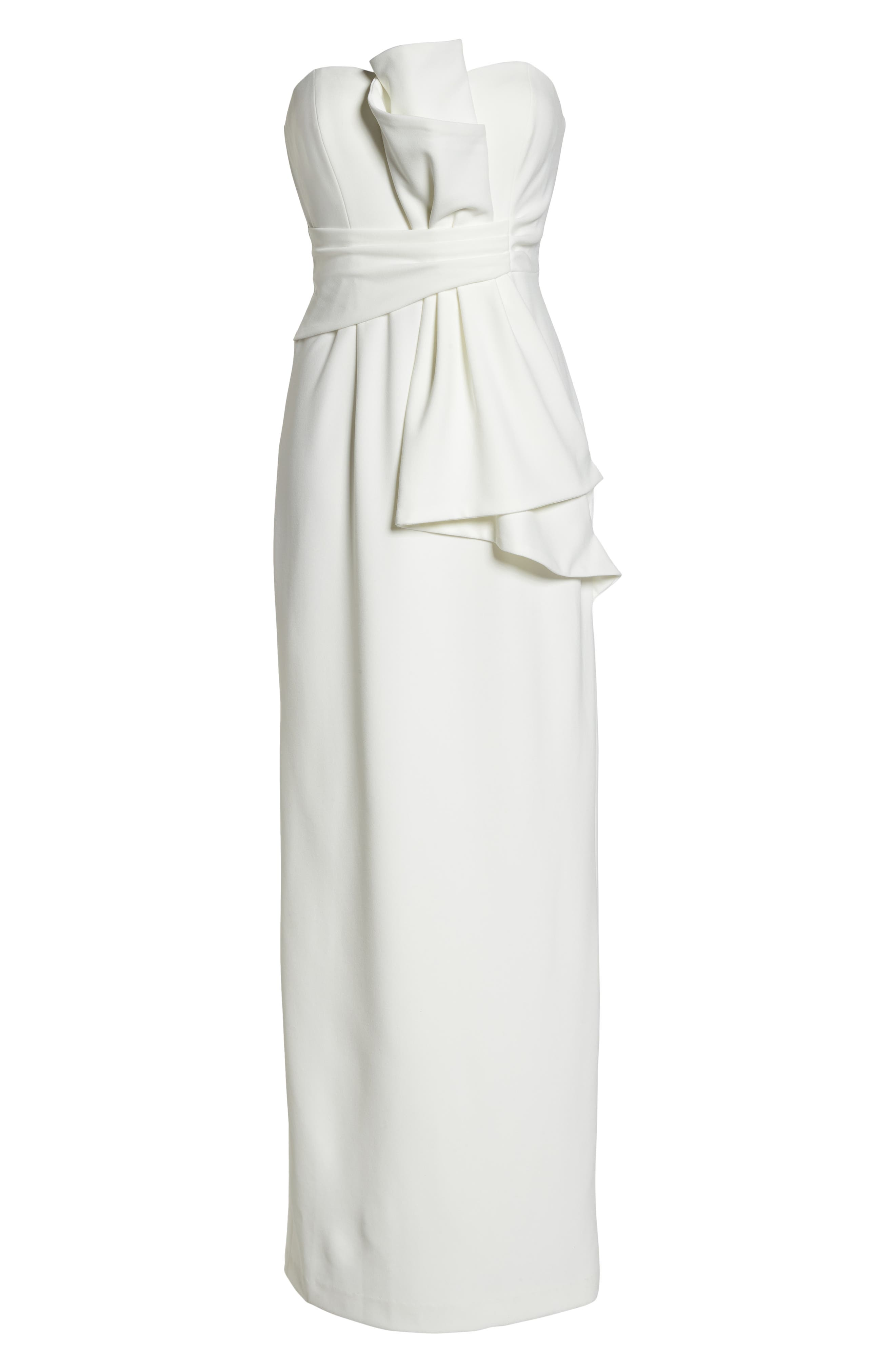 Strapless Bow Column Gown,                             Alternate thumbnail 6, color,                             Ivory