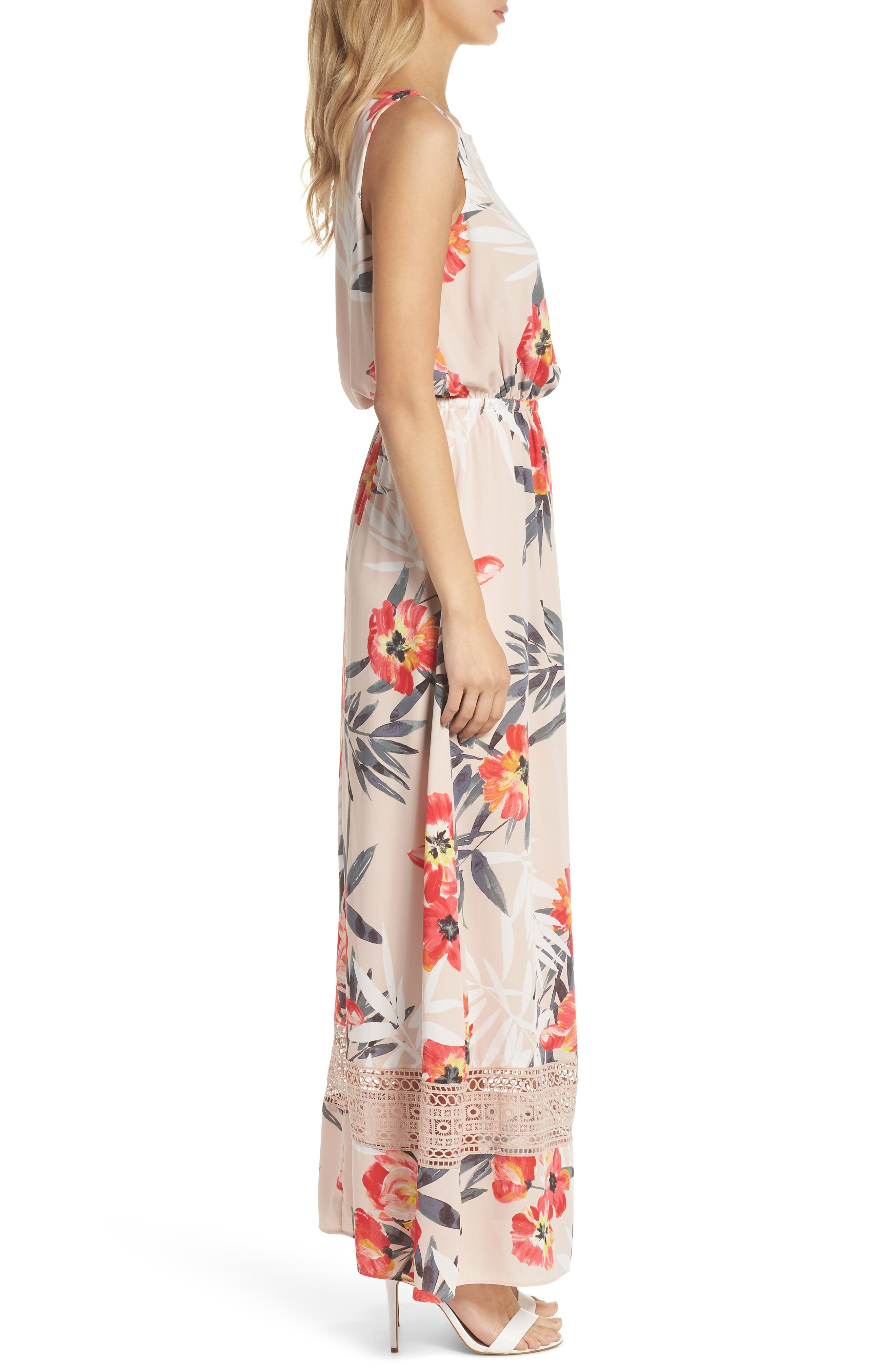 Tropical Breeze Print Maxi Dress,                             Alternate thumbnail 3, color,                             Geranium Multi