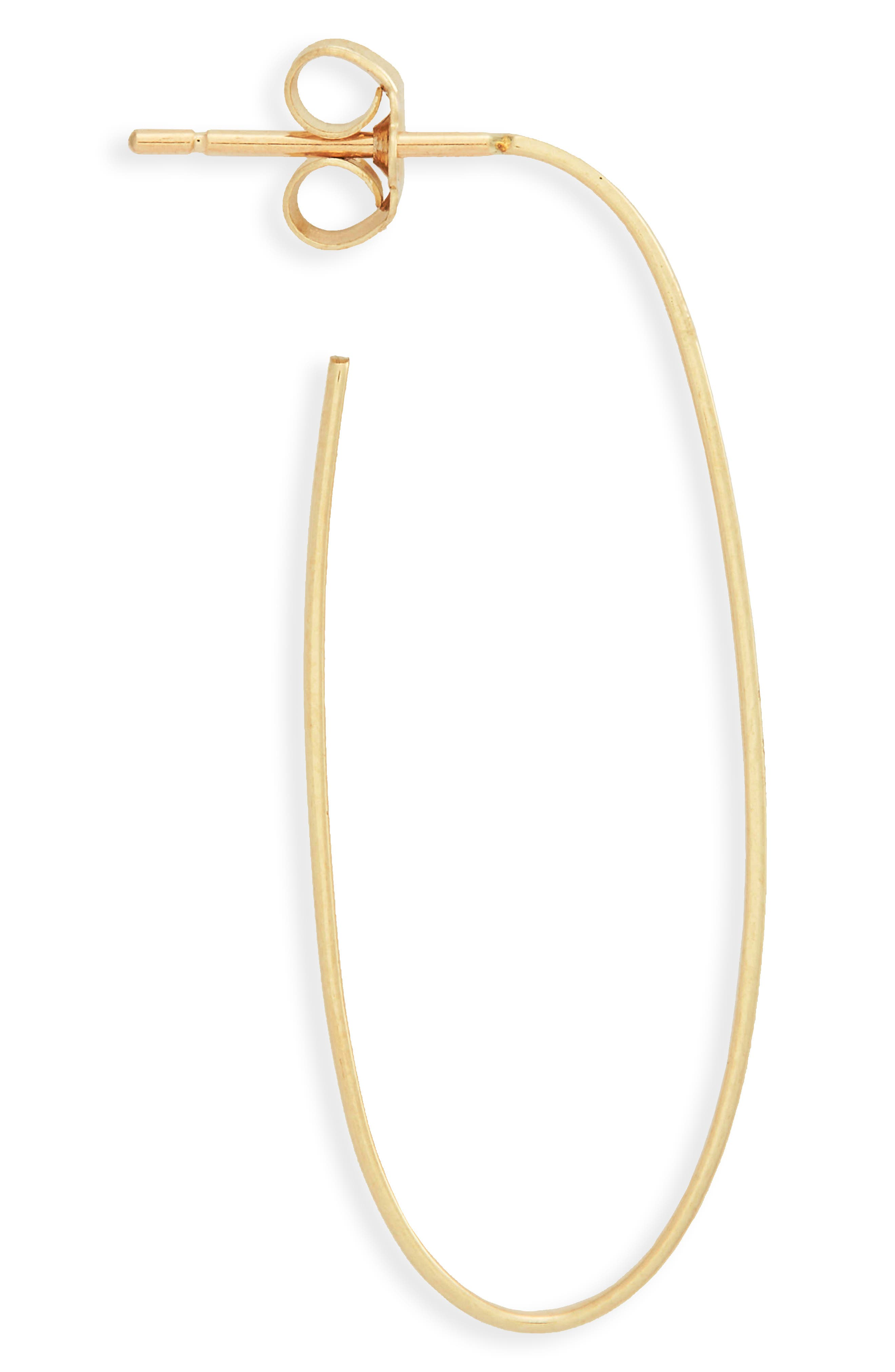Flat Long Oval Hoop Earrings,                             Alternate thumbnail 4, color,                             Yellow Gold