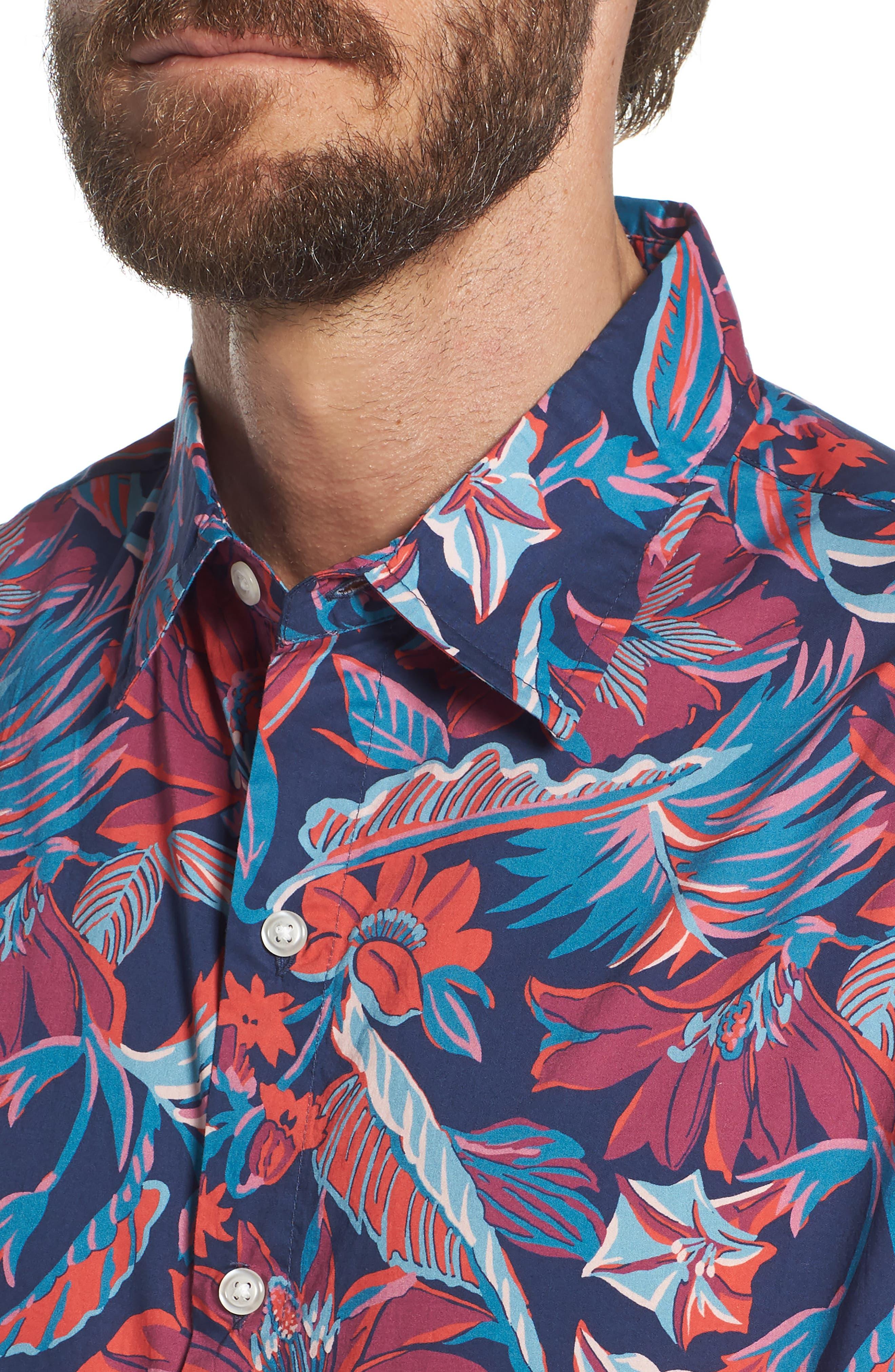 Slim Fit Print Sport Shirt,                             Alternate thumbnail 2, color,                             Pavilion Floral - Deep Pacific