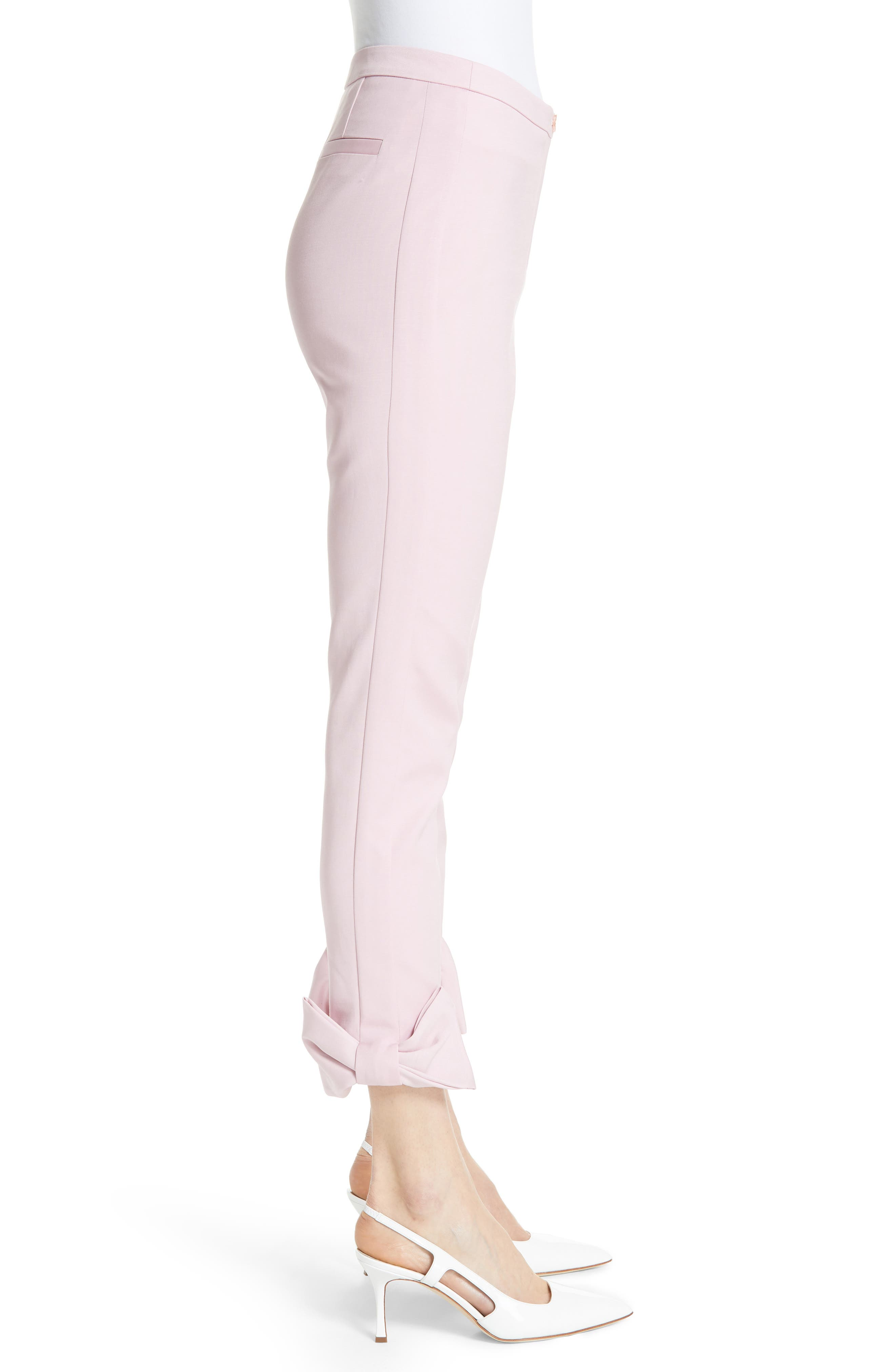 Toplyt Bow Cuff Ankle Pants,                             Alternate thumbnail 3, color,                             Lilac