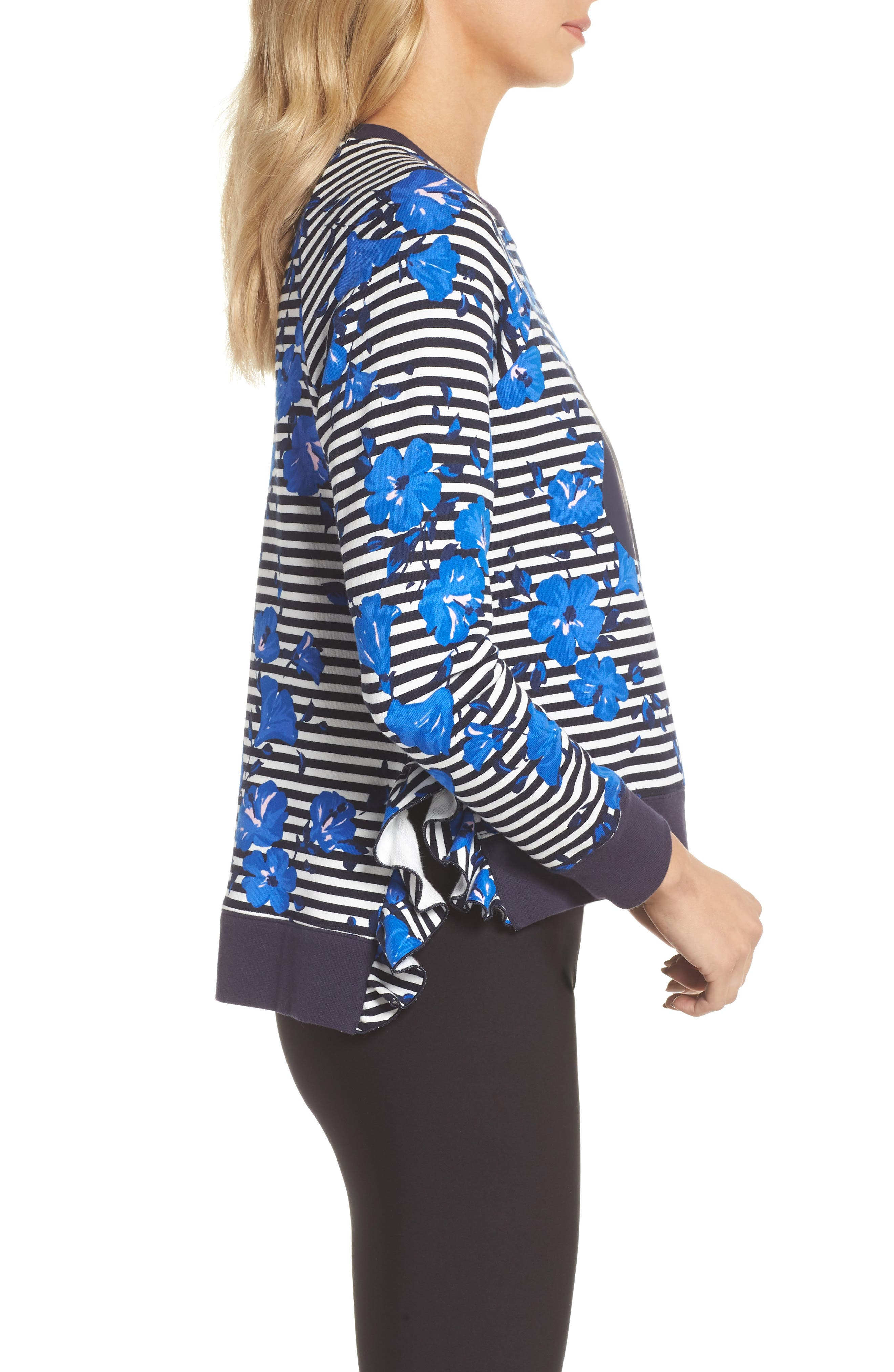 hibiscus stripe sweatshirt,                             Alternate thumbnail 3, color,                             Rich Navy