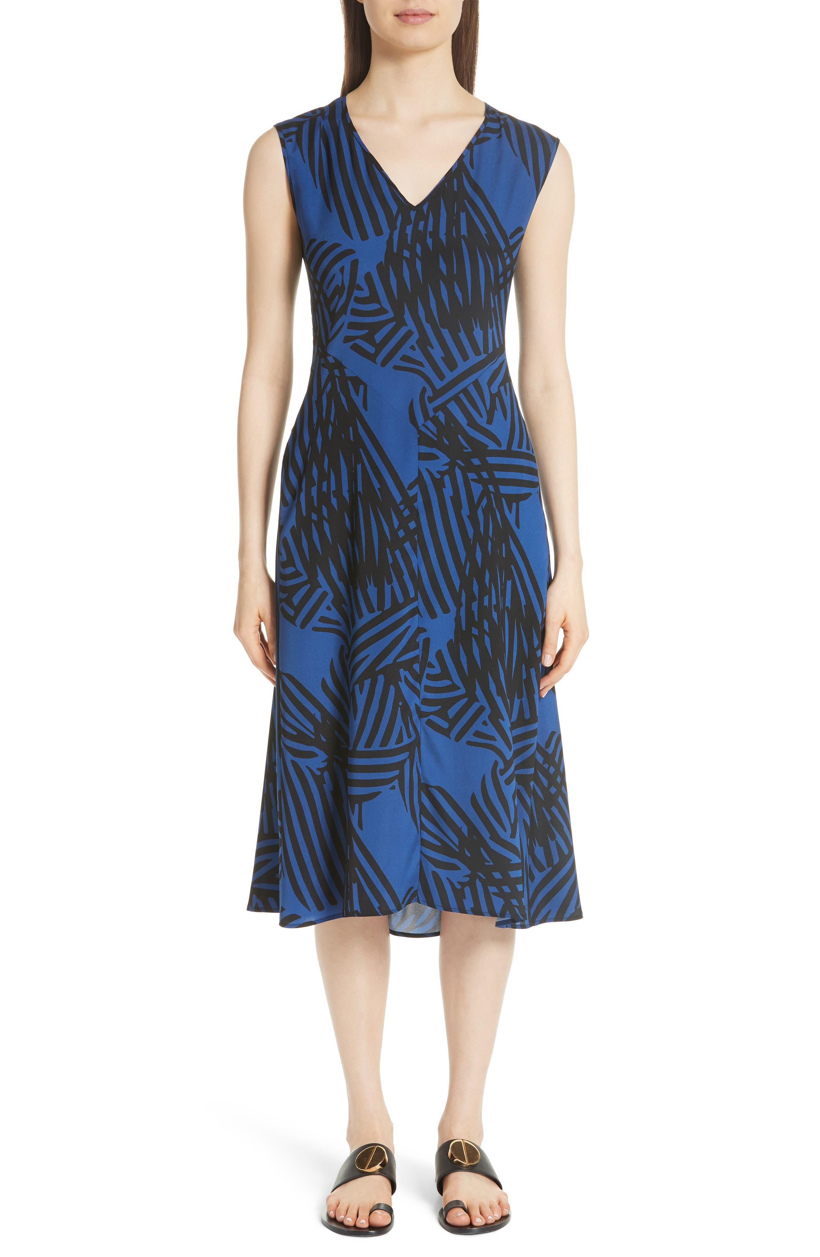 Ribbon Print Stretch Silk Dress,                         Main,                         color, Blue
