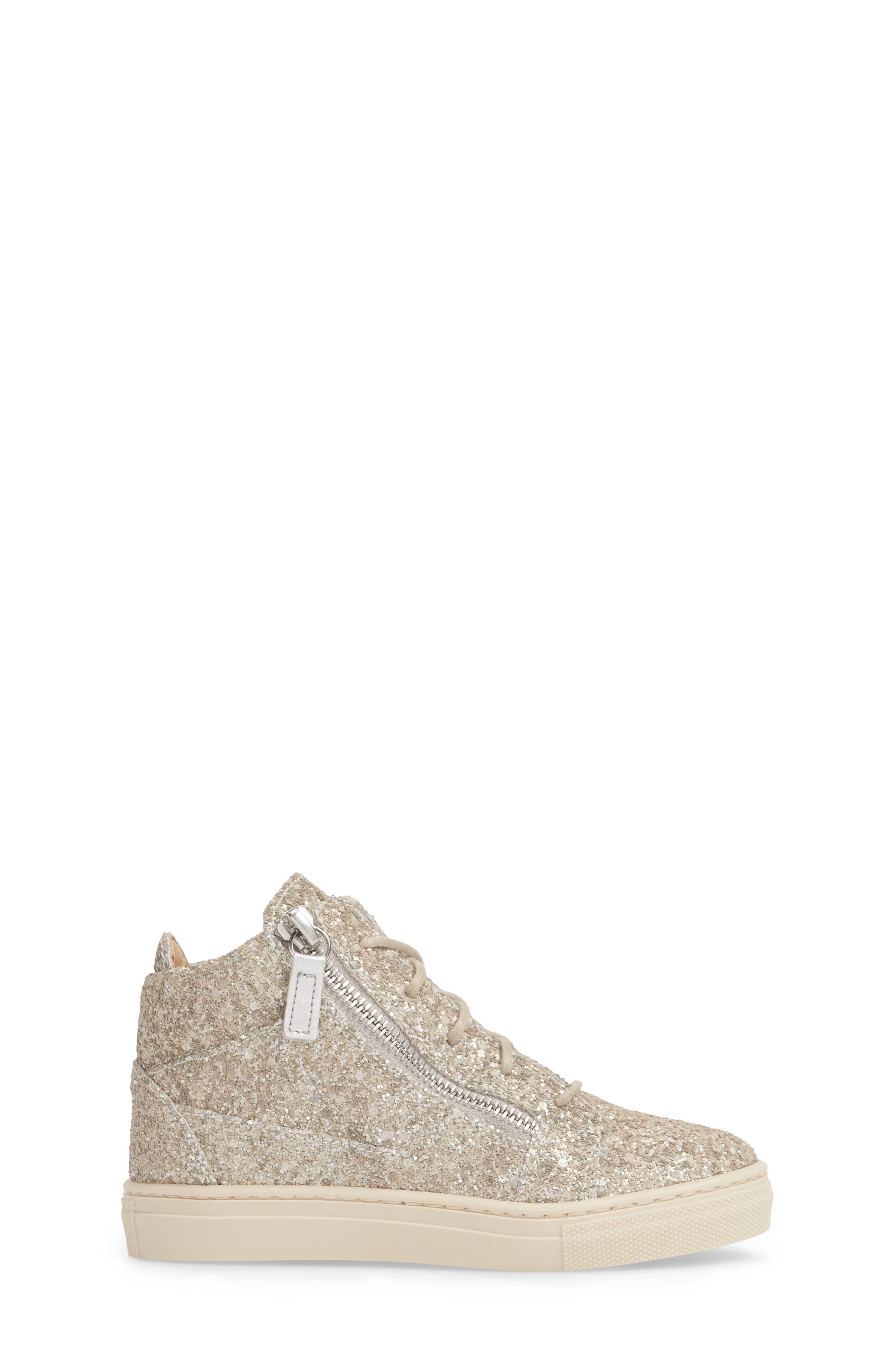 Natalie High Top Sneaker,                             Alternate thumbnail 3, color,                             Silver Glitter