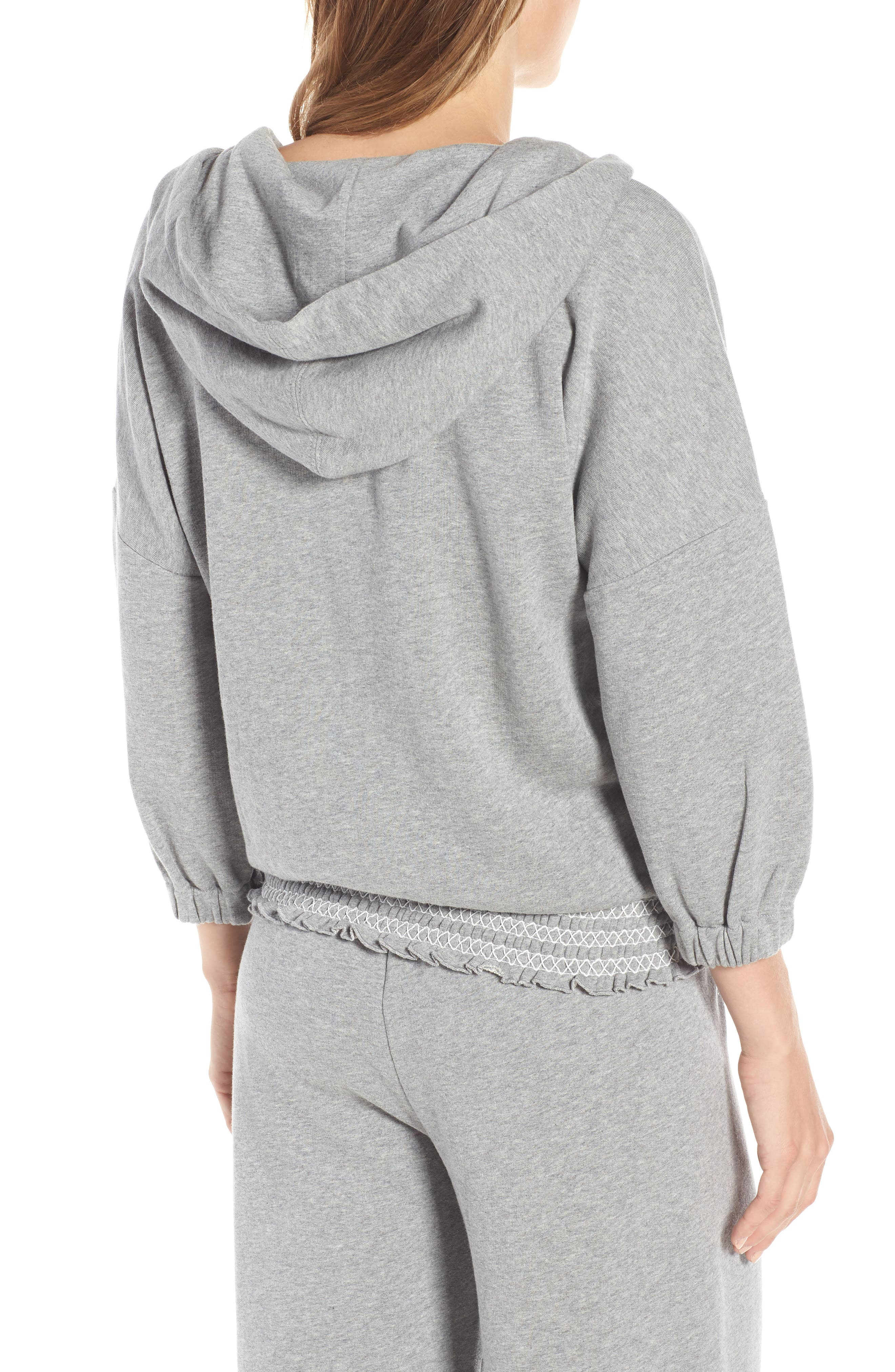 smocked hoodie sweatshirt,                             Alternate thumbnail 2, color,                             Flint Heather