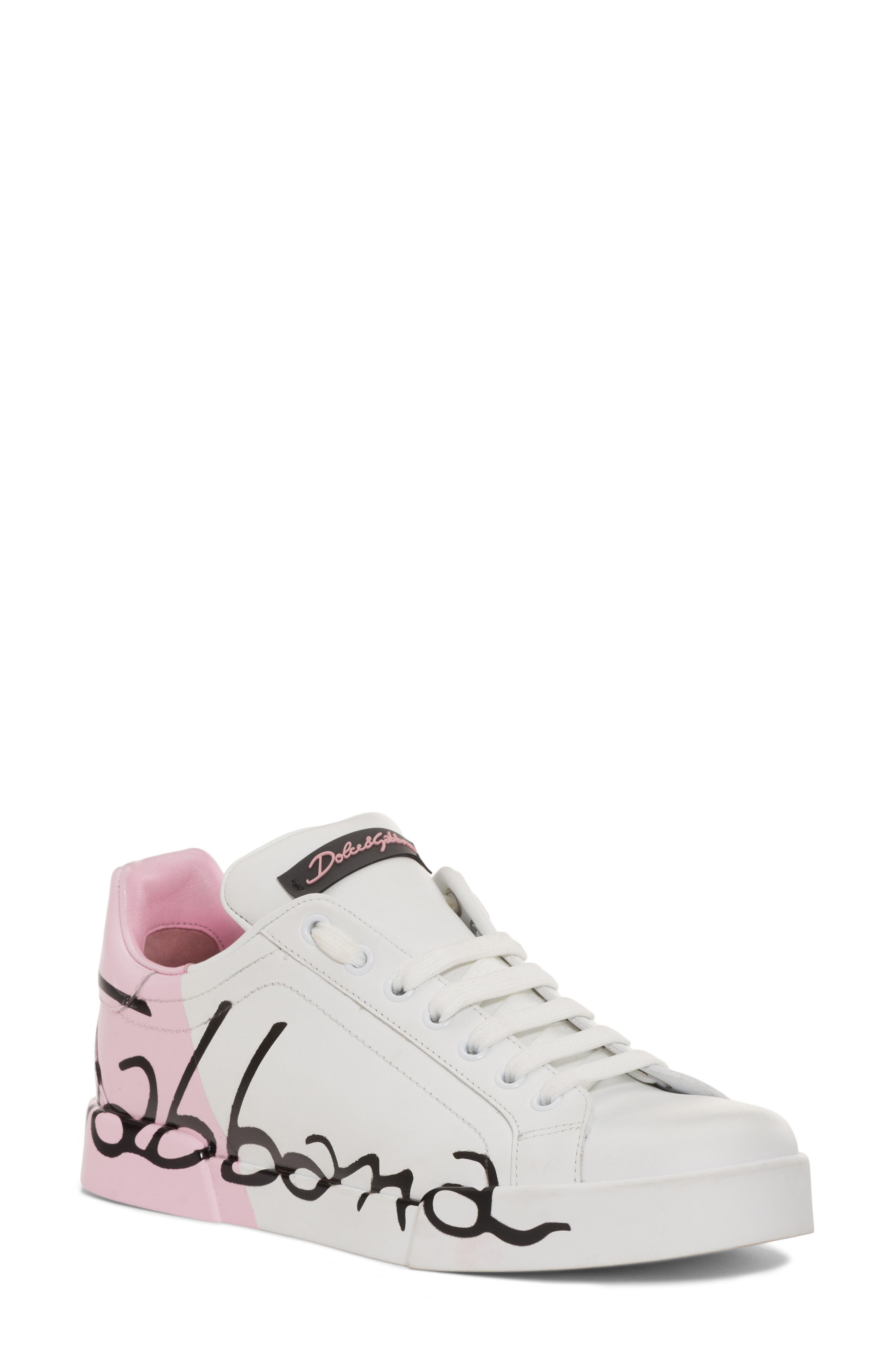 Script Logo Sneaker,                         Main,                         color, Pink/ White