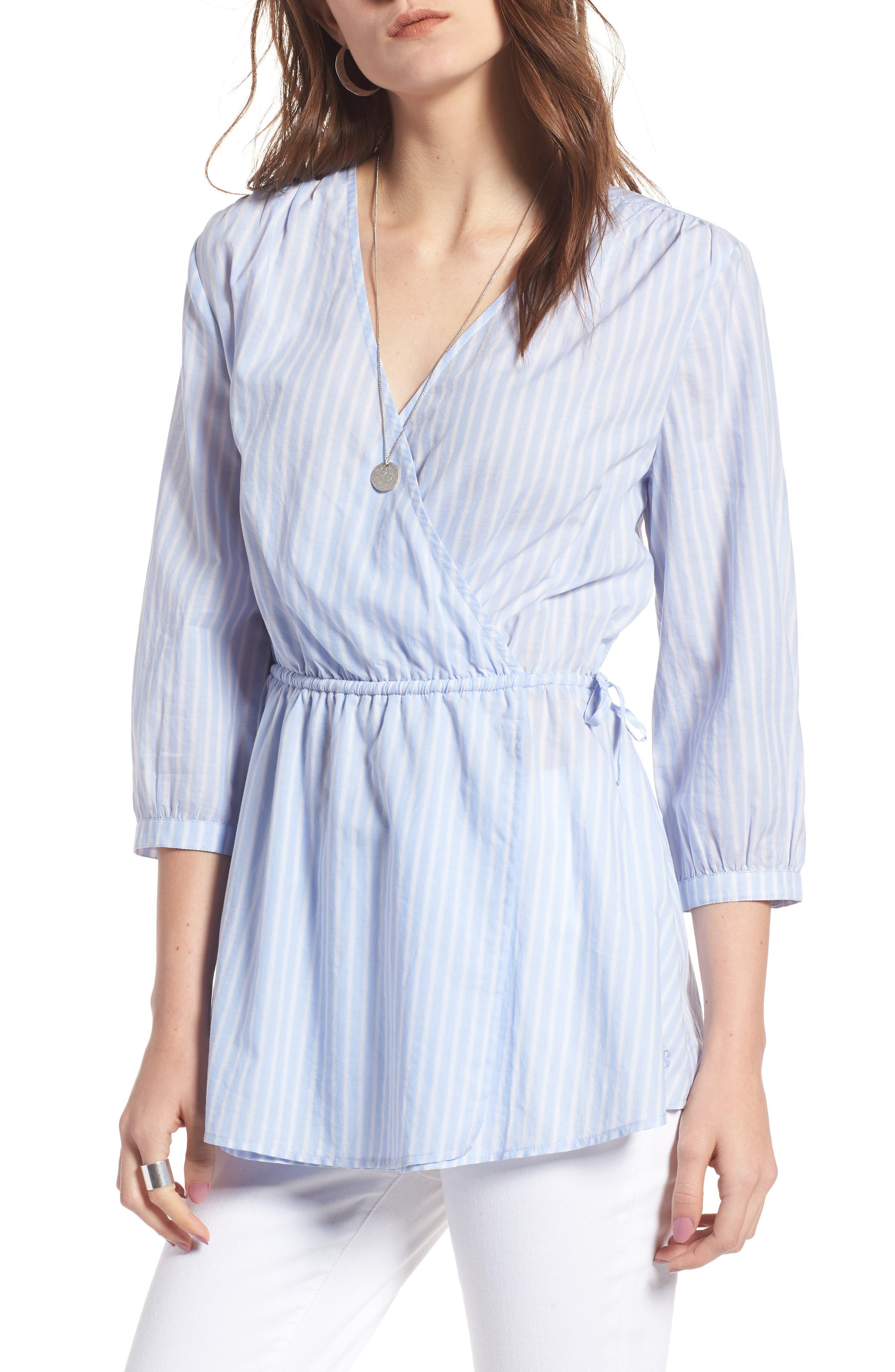 Faux Wrap Top,                         Main,                         color, Blue Martina Stripe