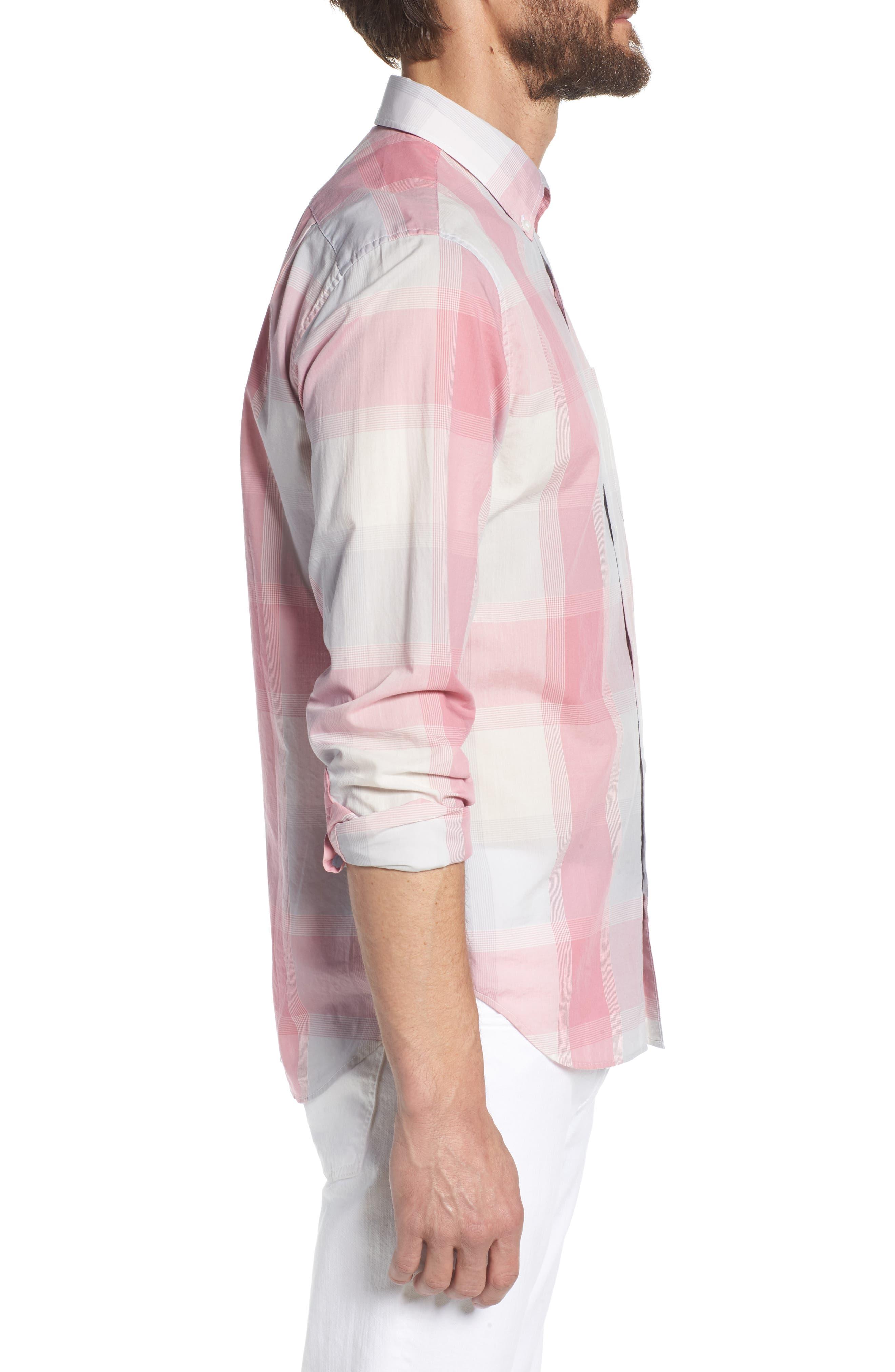 Summerweight Slim Fit Plaid Sport Shirt,                             Alternate thumbnail 4, color,                             Oro Plaid - Pink Sand