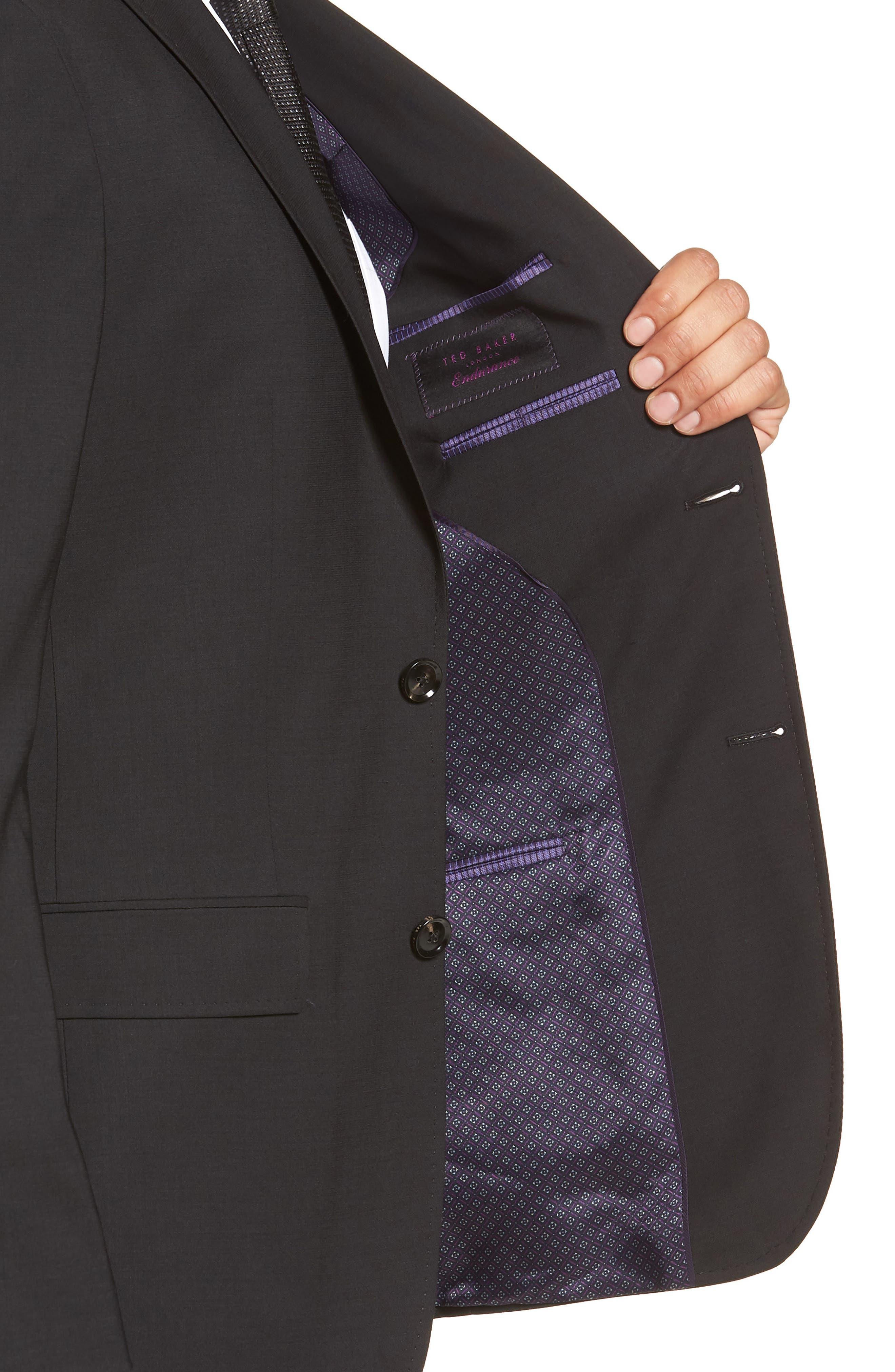 Jay Trim Fit Solid Wool Suit,                             Alternate thumbnail 4, color,                             Black