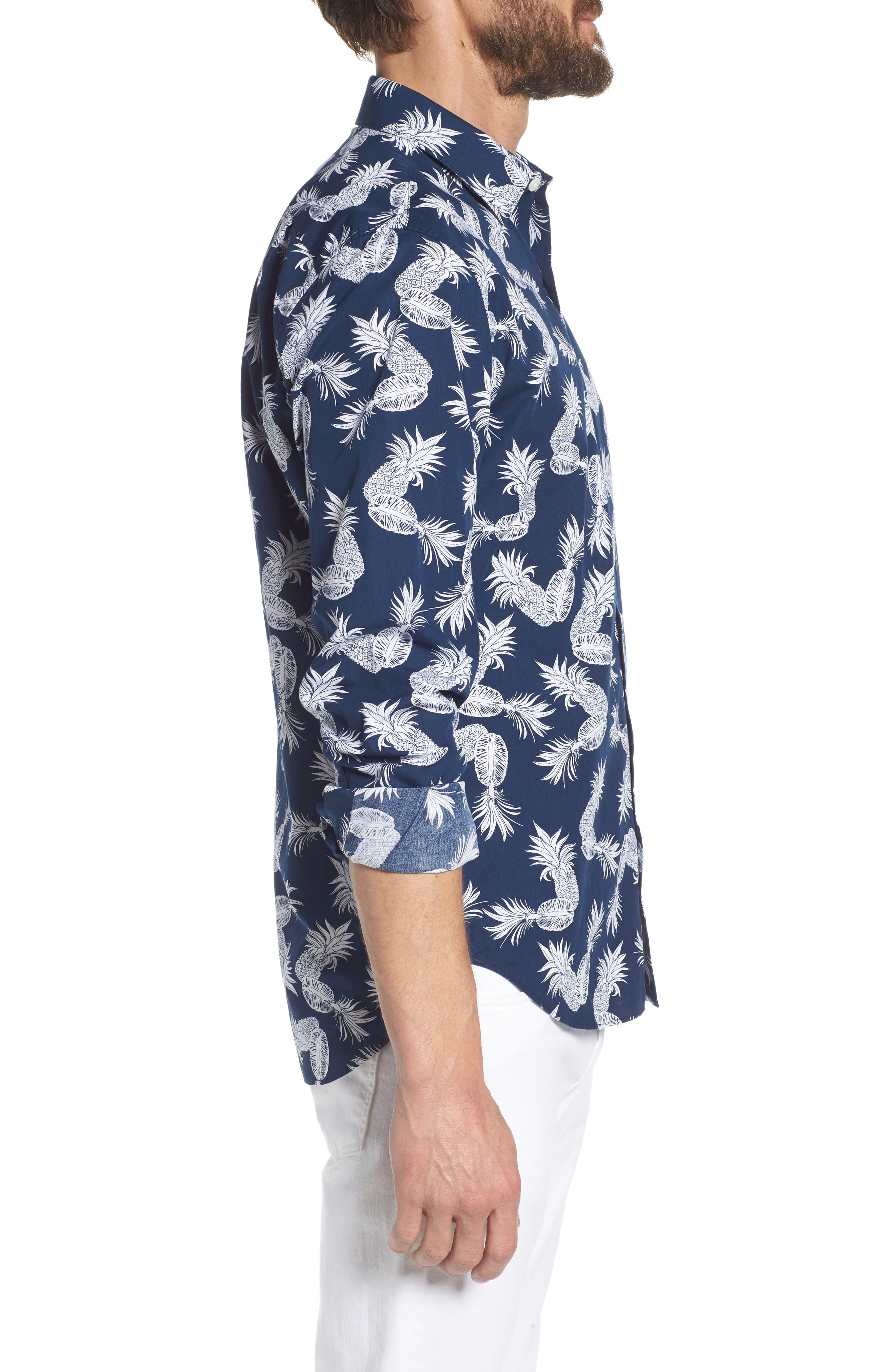 Unbutton Down Slim Fit Print Sport Shirt,                             Alternate thumbnail 4, color,                             Fancy Pineapples - Pacific