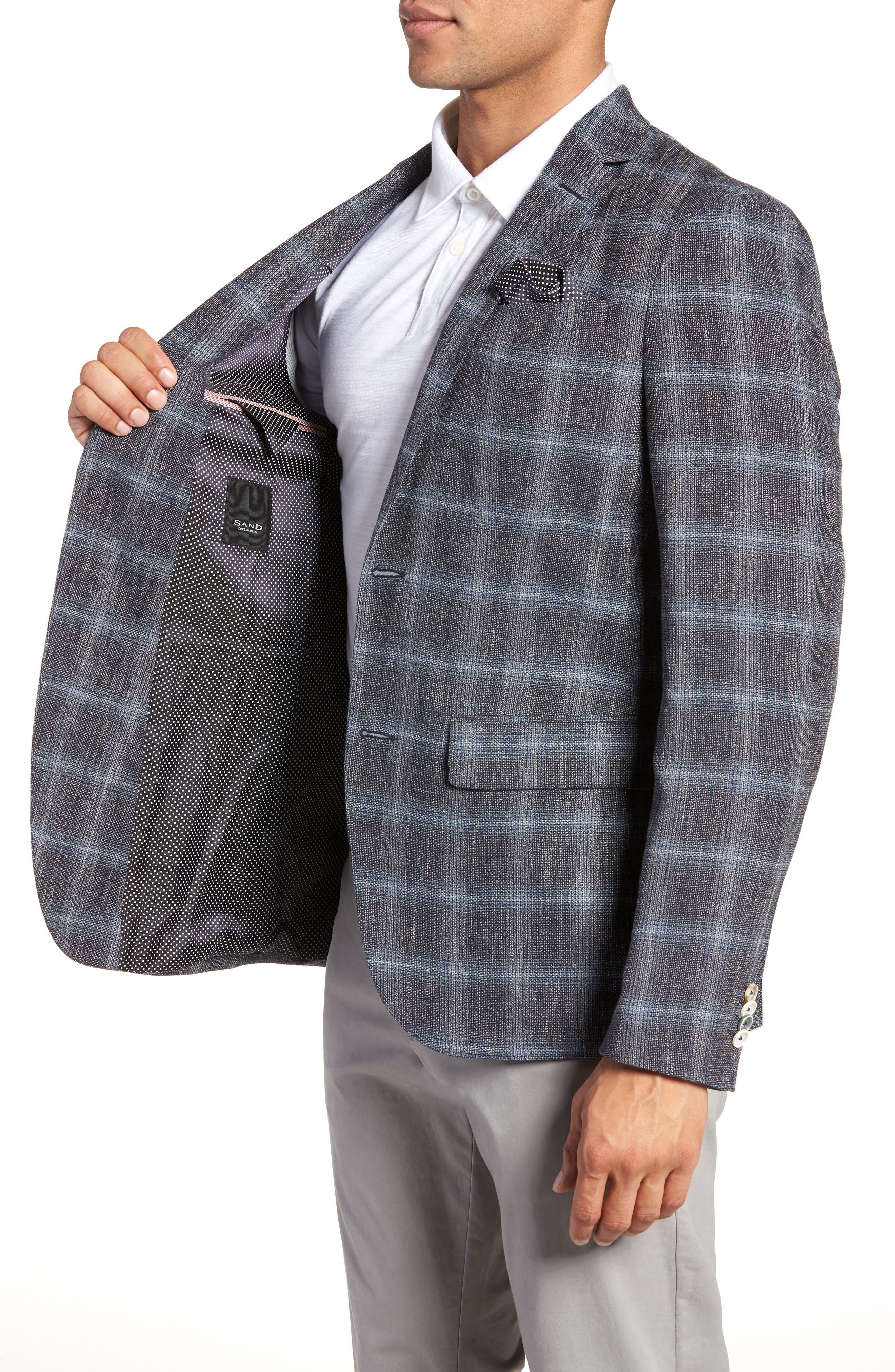 Trim Fit Plaid Sport Coat,                             Alternate thumbnail 4, color,                             Grey