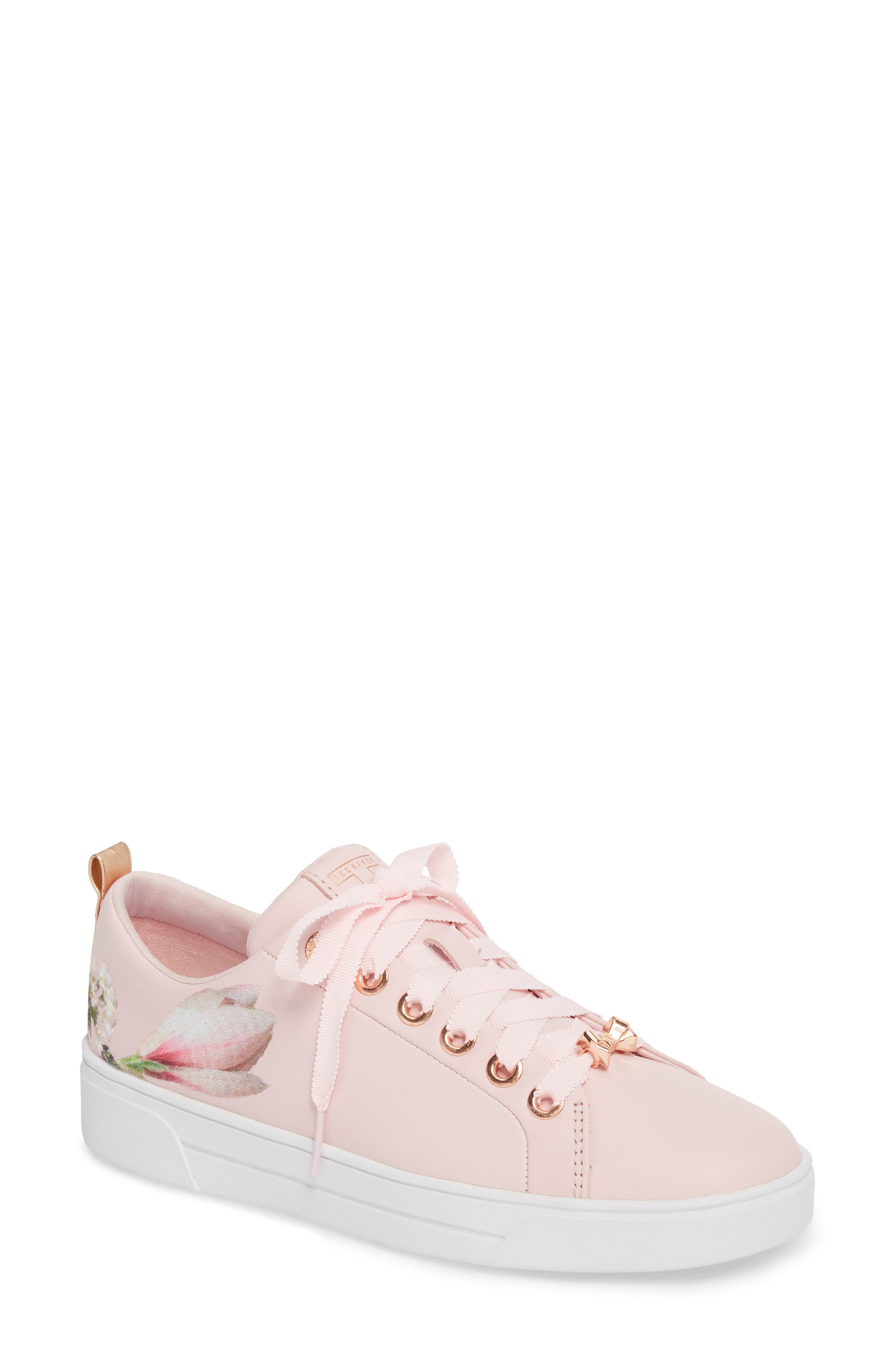 Kelleie Embroidered Sneaker,                             Main thumbnail 1, color,                             Mink Pink Leather