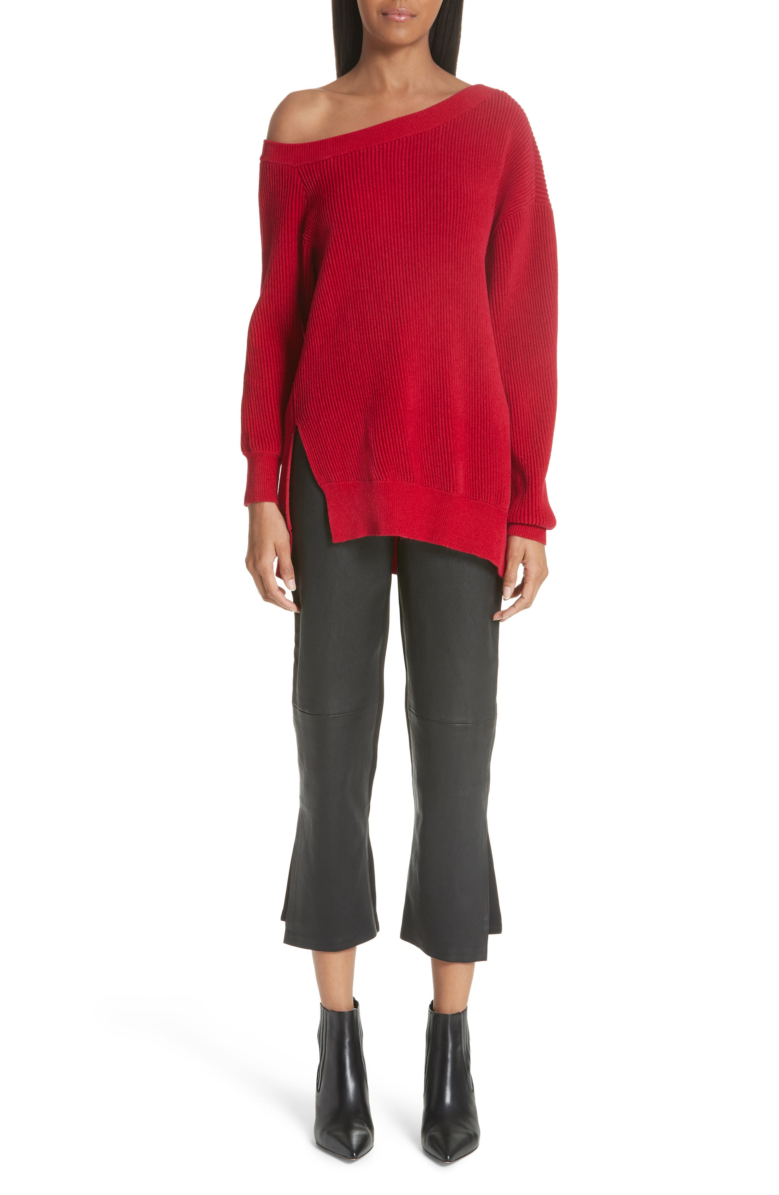 One-Shoulder Sweater,                             Alternate thumbnail 7, color,                             Cardinal-Red