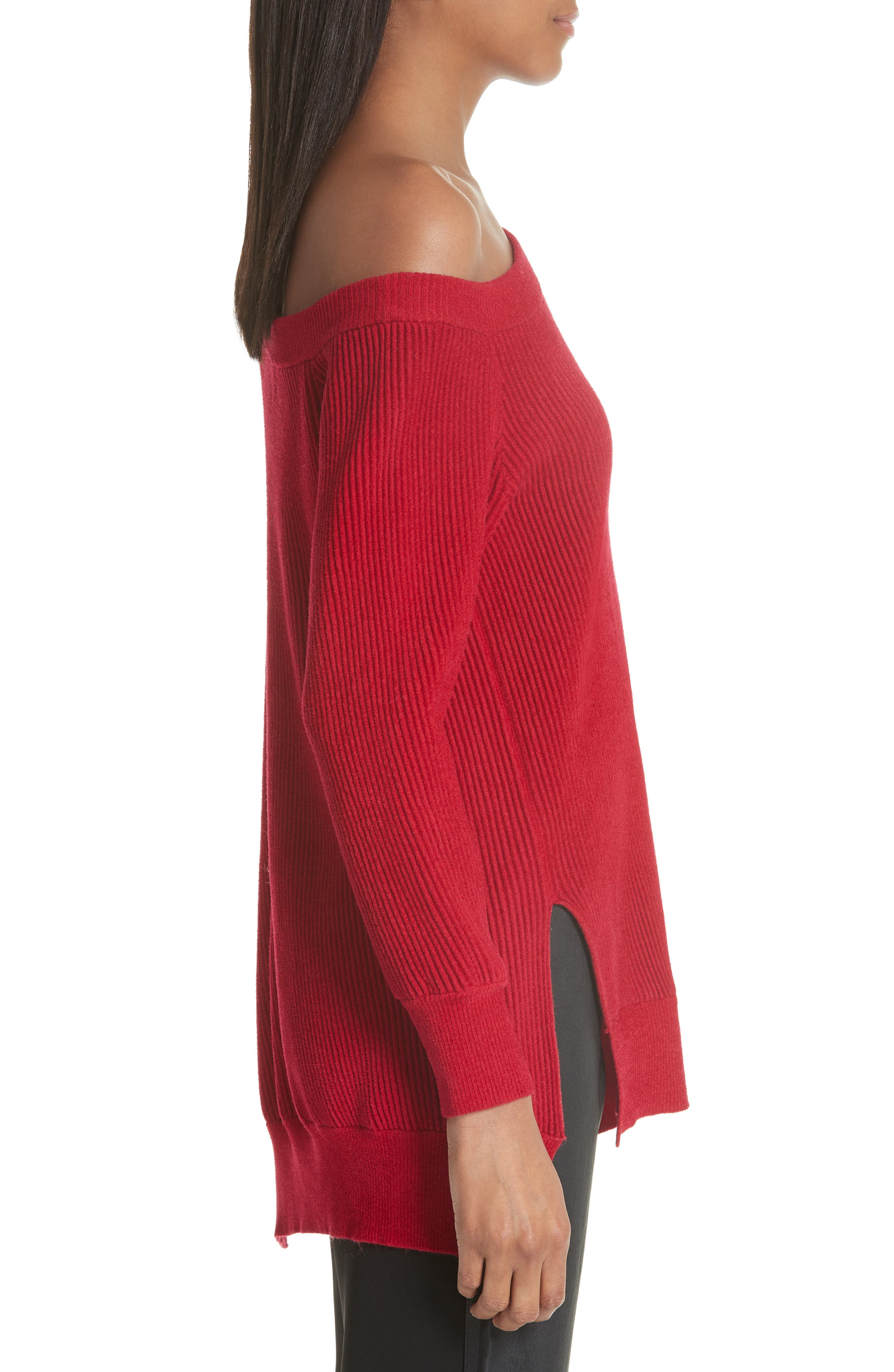 One-Shoulder Sweater,                             Alternate thumbnail 3, color,                             Cardinal-Red