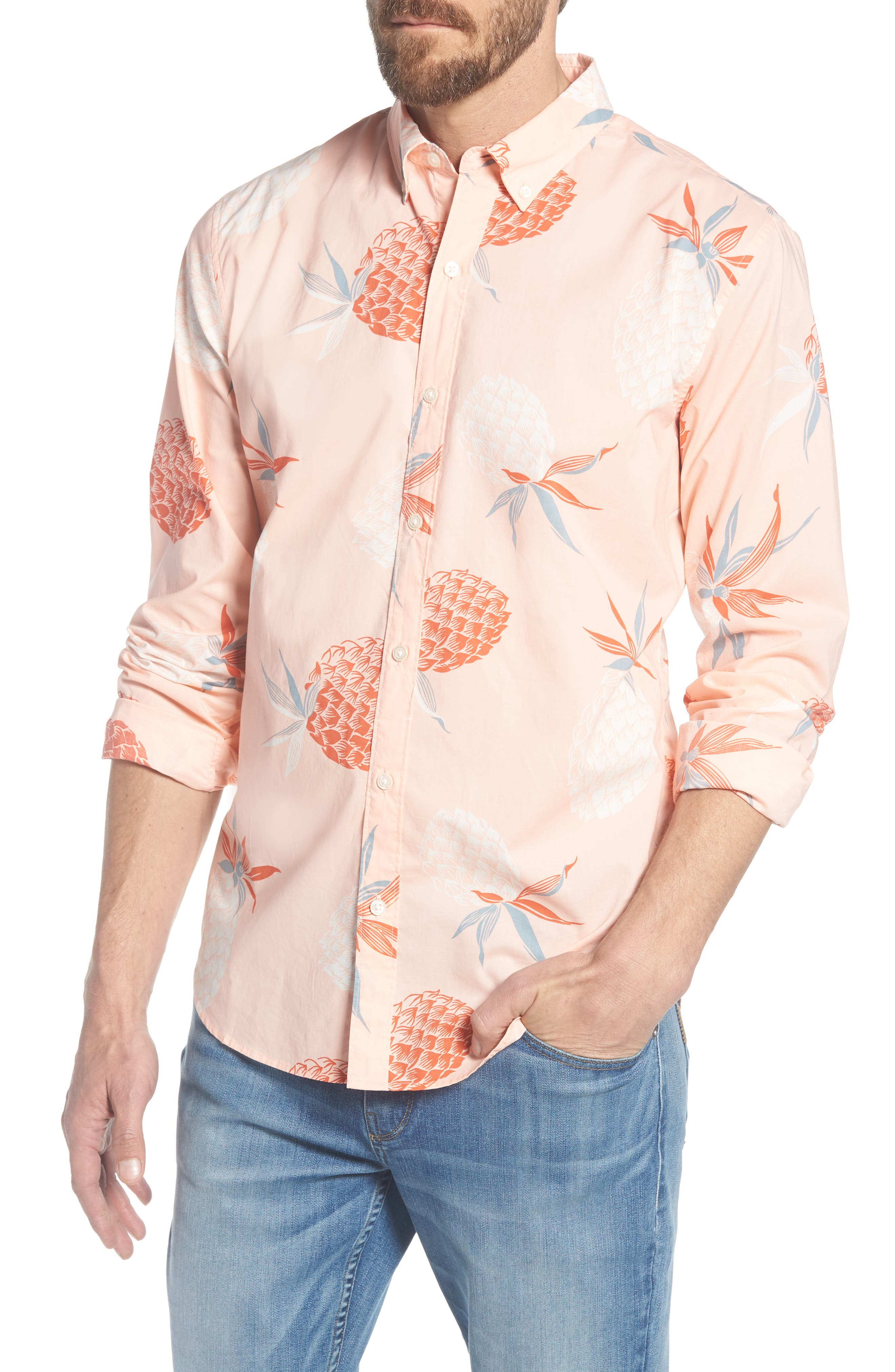 Summerweight Slim Fit Print Sport Shirt,                         Main,                         color, Pineapple Party - Peach Melba
