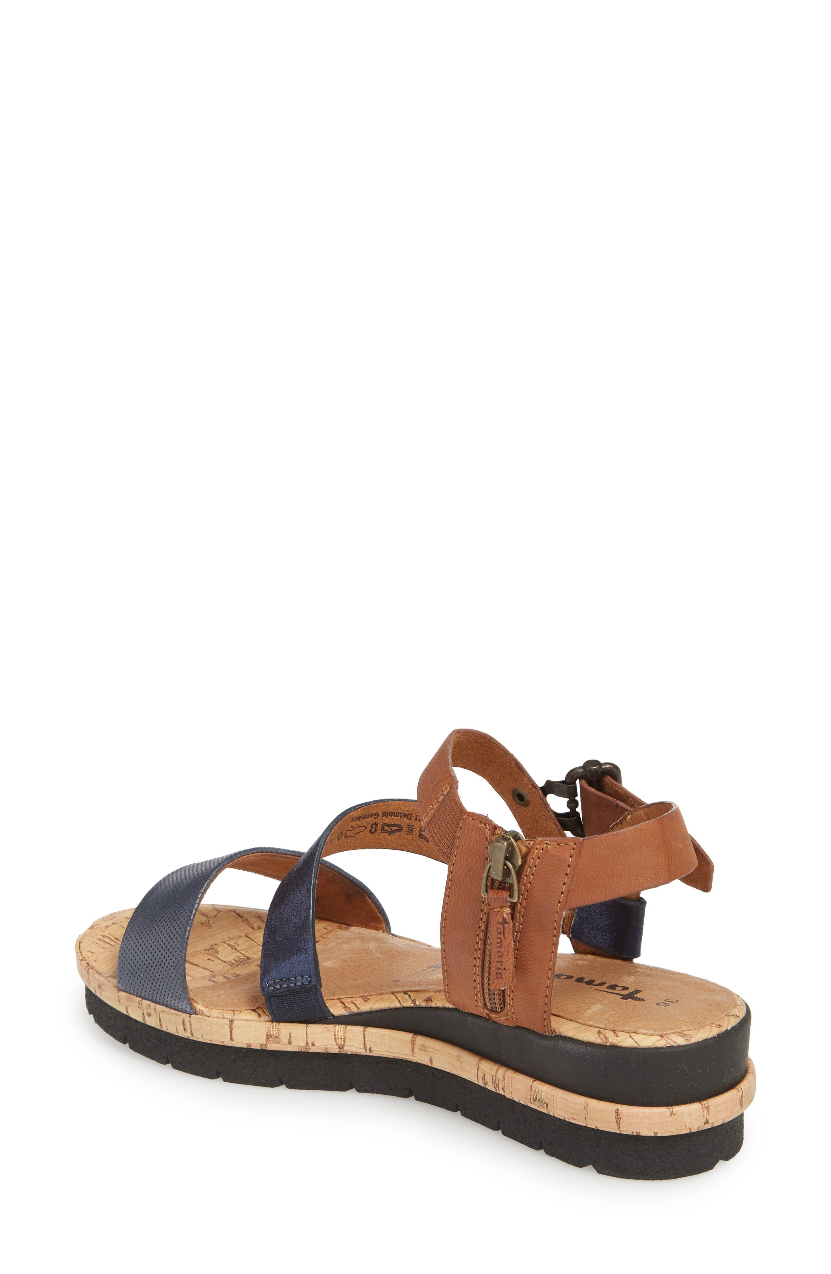 Eda Diagonal Strap Wedge Sandal,                             Alternate thumbnail 2, color,                             Navy/ Cognac Leather