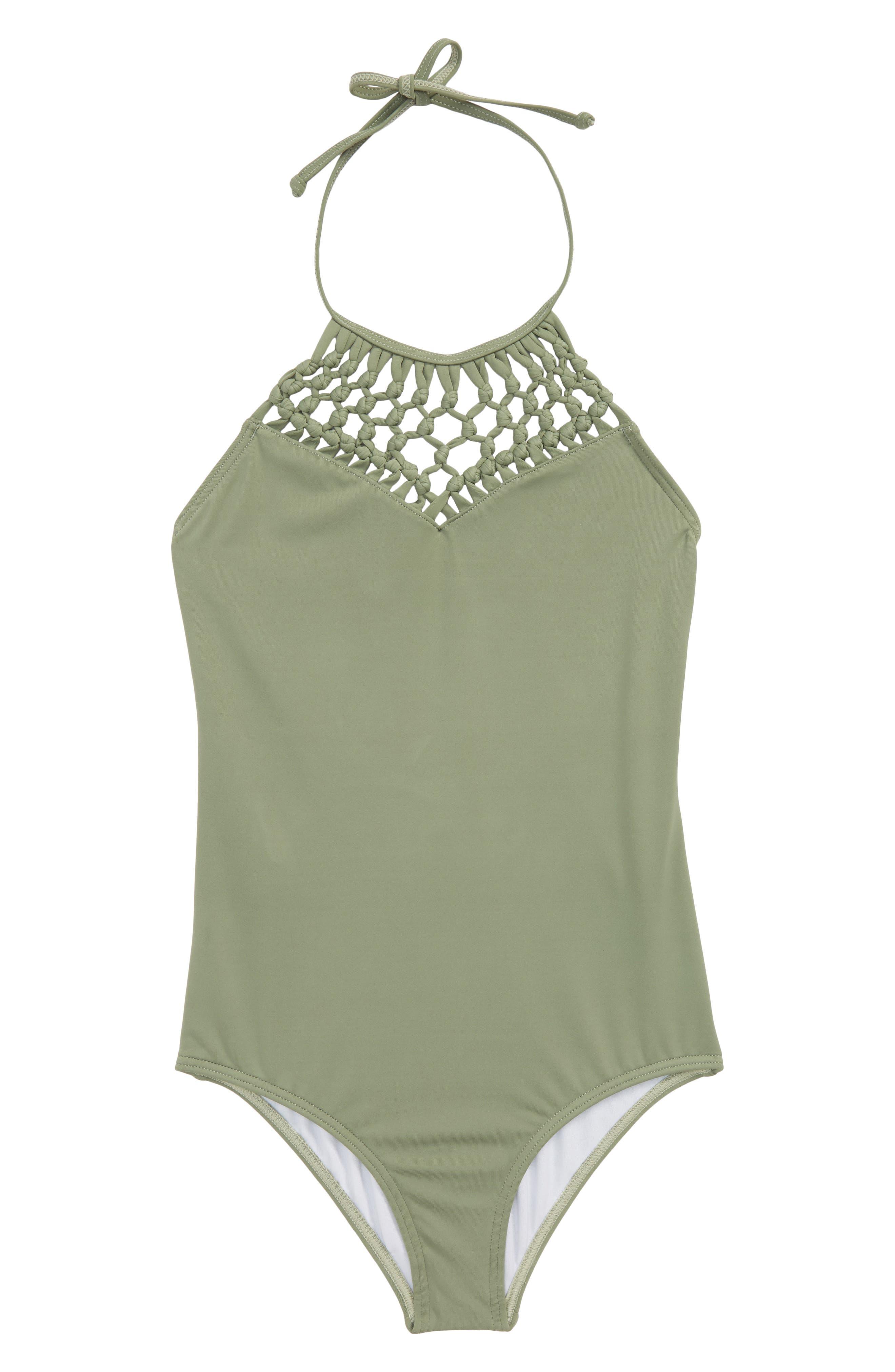 Macramé Madness One-Piece Swimsuit,                         Main,                         color, Treetop