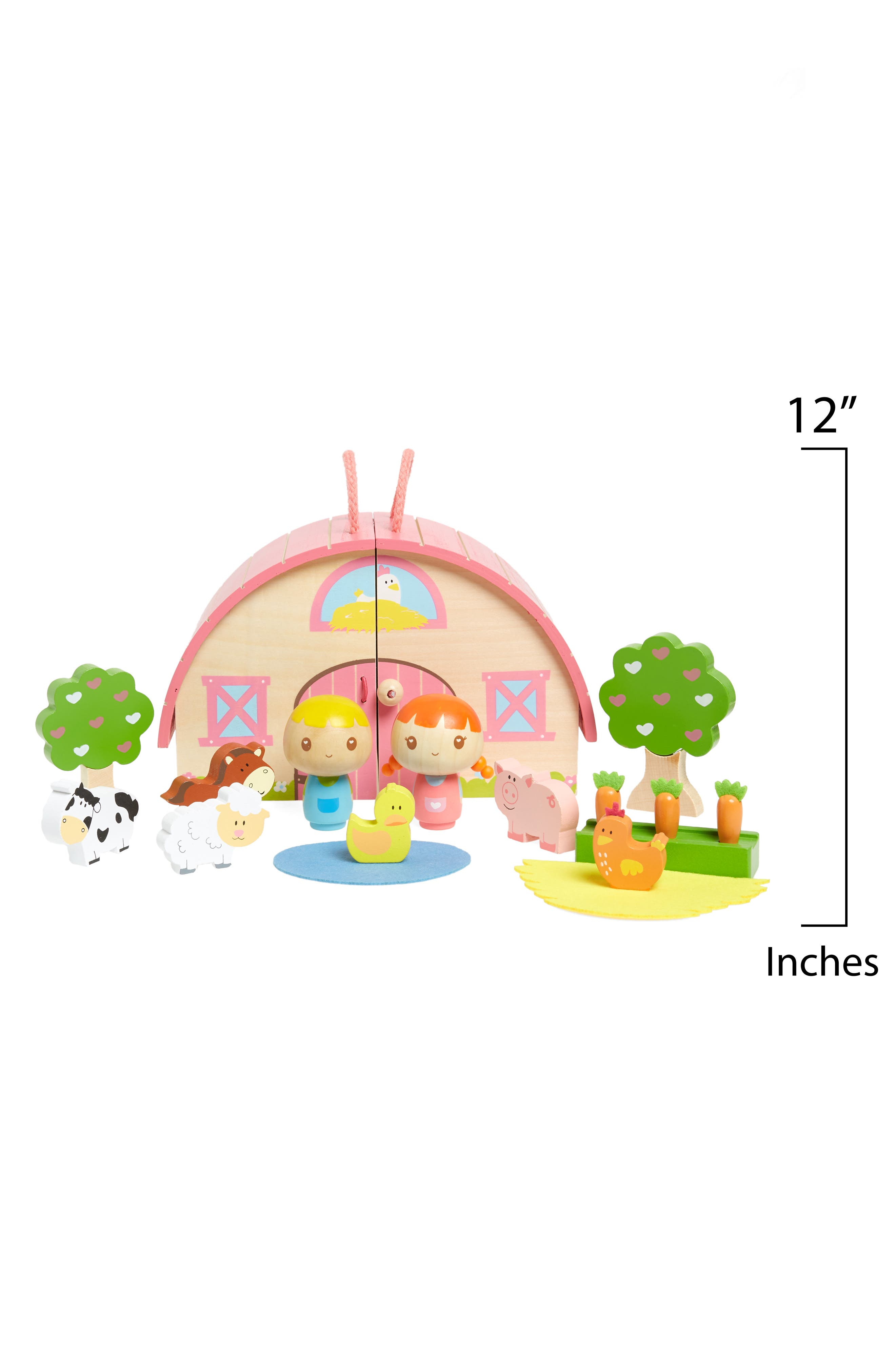 Sunrise Farm Wooden Play Set,                             Alternate thumbnail 2, color,                             White And Pink