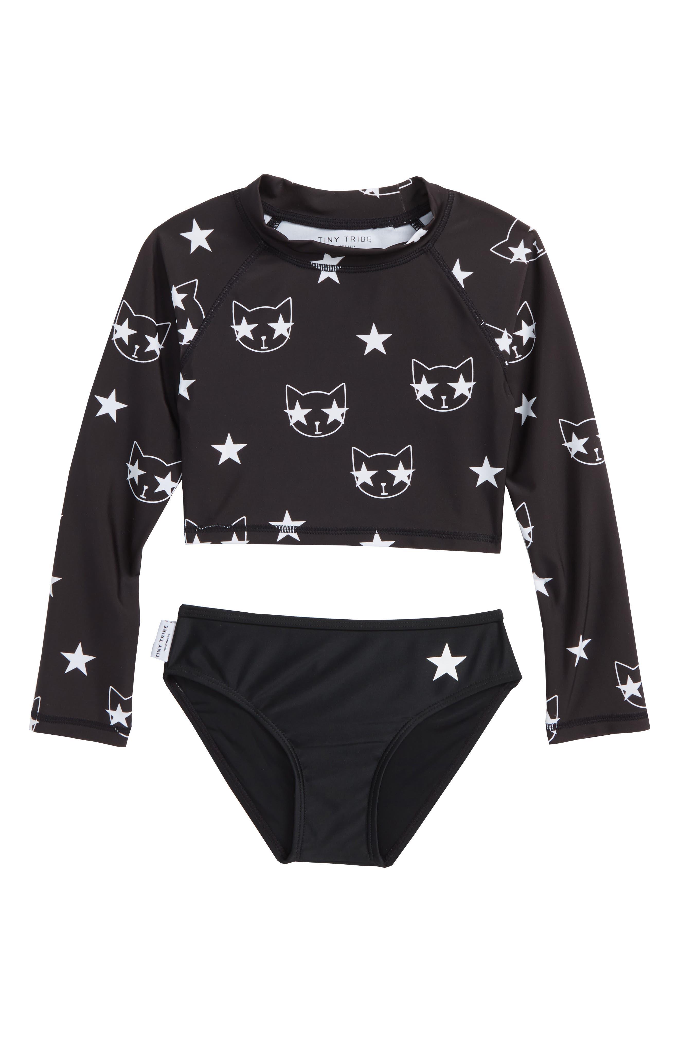 Starcat Two-Piece Rashguard Swimsuit,                             Main thumbnail 1, color,                             Black