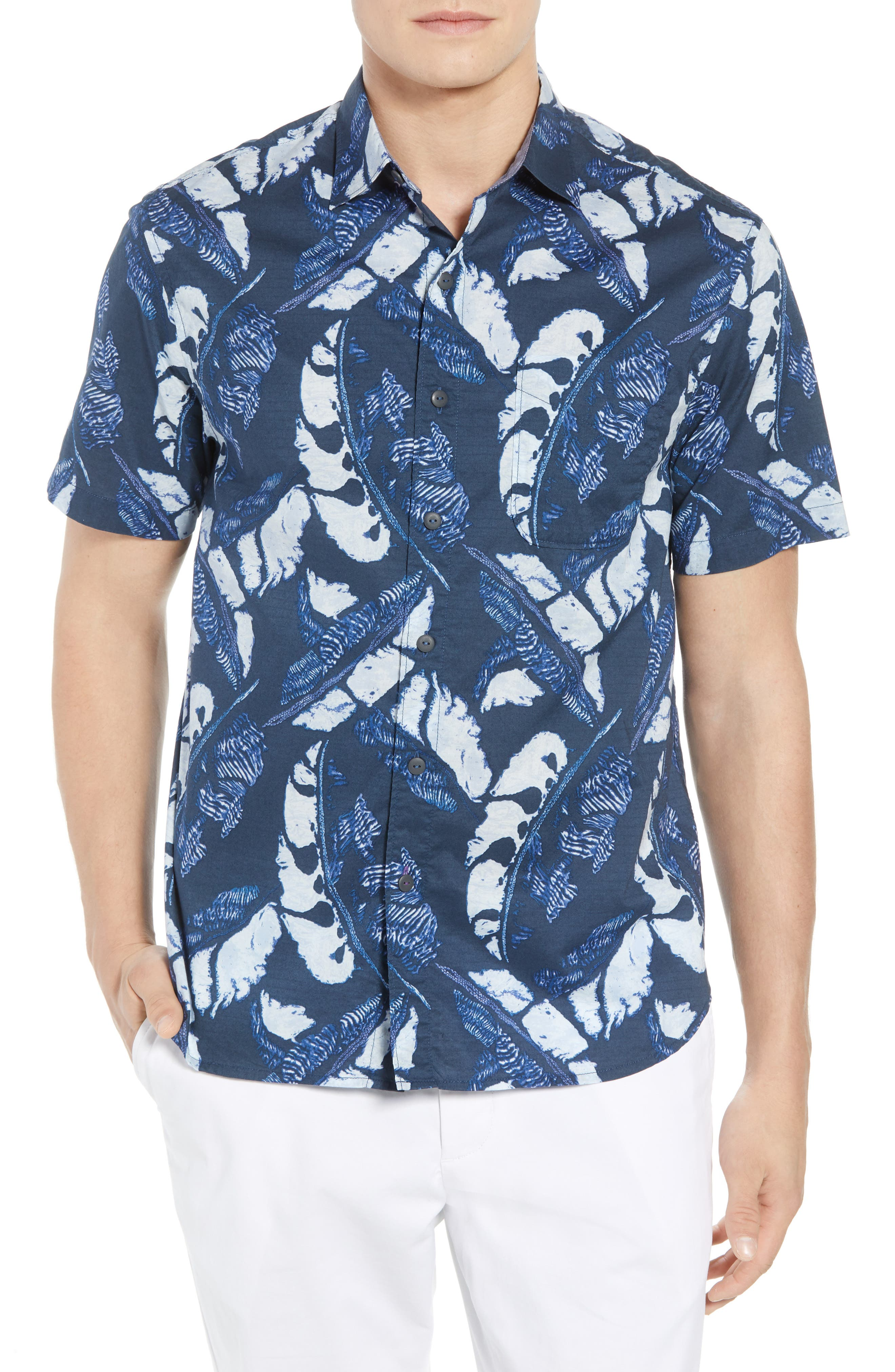 Lunar Leaves Sport Shirt,                             Main thumbnail 1, color,                             Ocean Deep