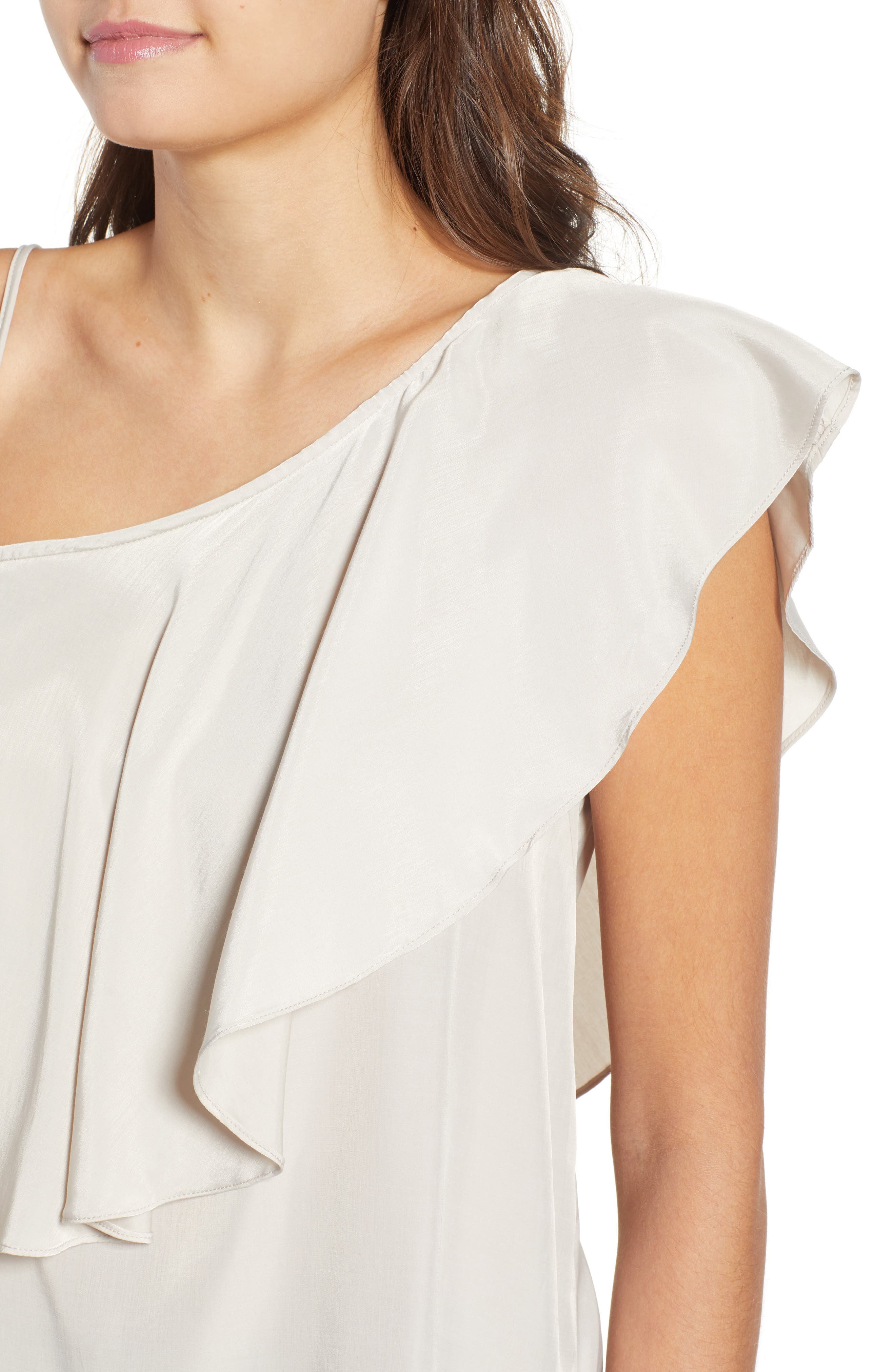 Hangin Ruff One-Shoulder Top,                             Alternate thumbnail 4, color,                             Light Grey
