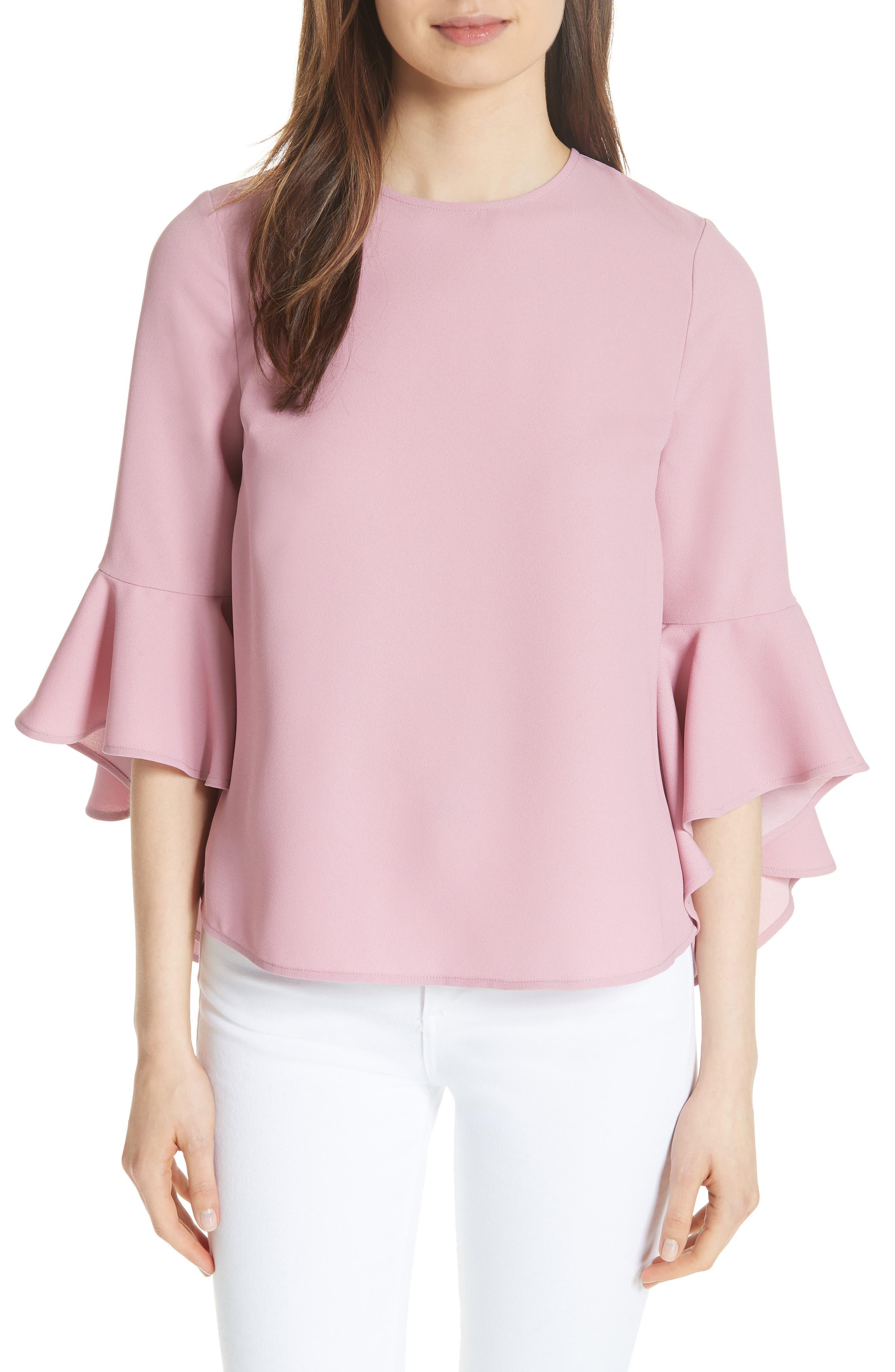 Juula Waterfall Sleeve Top,                         Main,                         color, Dusky Pink