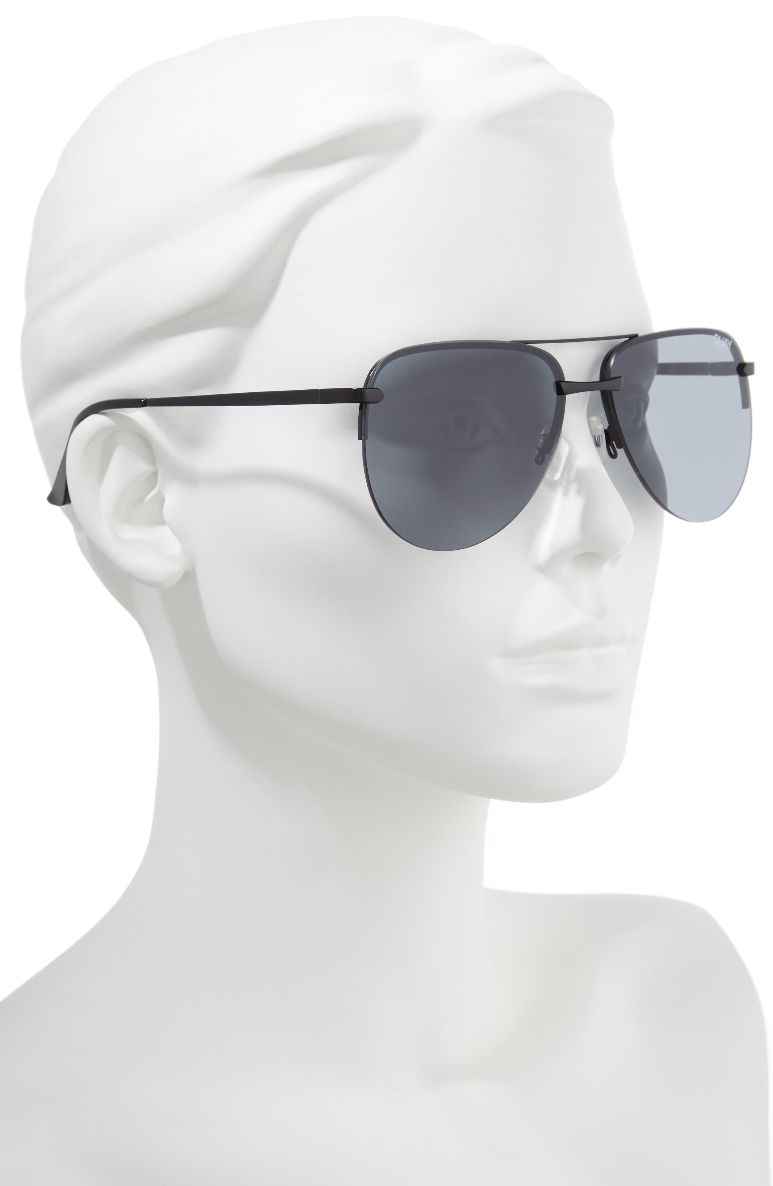 The Playa 64mm Aviator Sunglasses,                             Alternate thumbnail 2, color,                             Black/ Smoke
