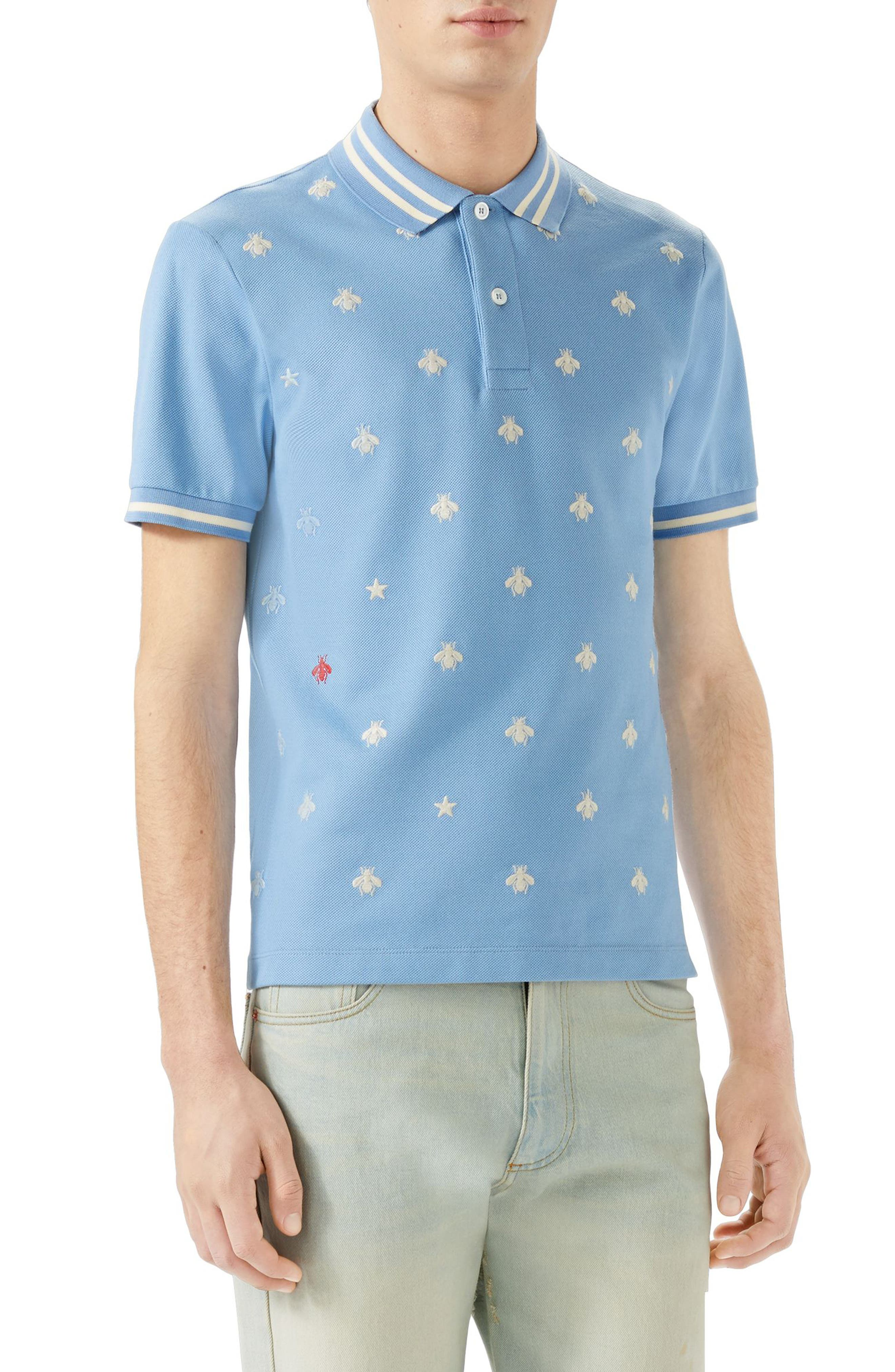 Embroidered Bee Piqué Polo,                             Main thumbnail 1, color,                             Light Blue